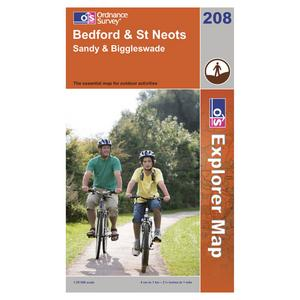 ORDNANCE SURVEY Explorer 208 Bedford & St Neots Map