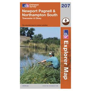 ORDNANCE SURVEY Explorer 207 Newport Pagnell & Northampton South Map