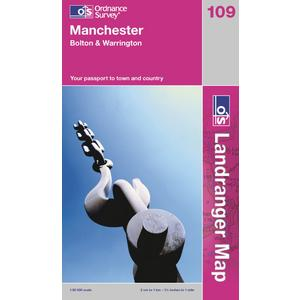ORDNANCE SURVEY OS Landranger 109 Manchester, Bolton & Warrington Map