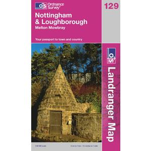 ORDNANCE SURVEY OS Landranger 129 Nottingham & Loughborough, Melton Mowbray Map