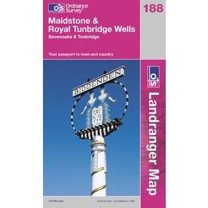 ORDNANCE SURVEY OS Landranger 188 Maidstone & Royal Tunbridge Wells Map