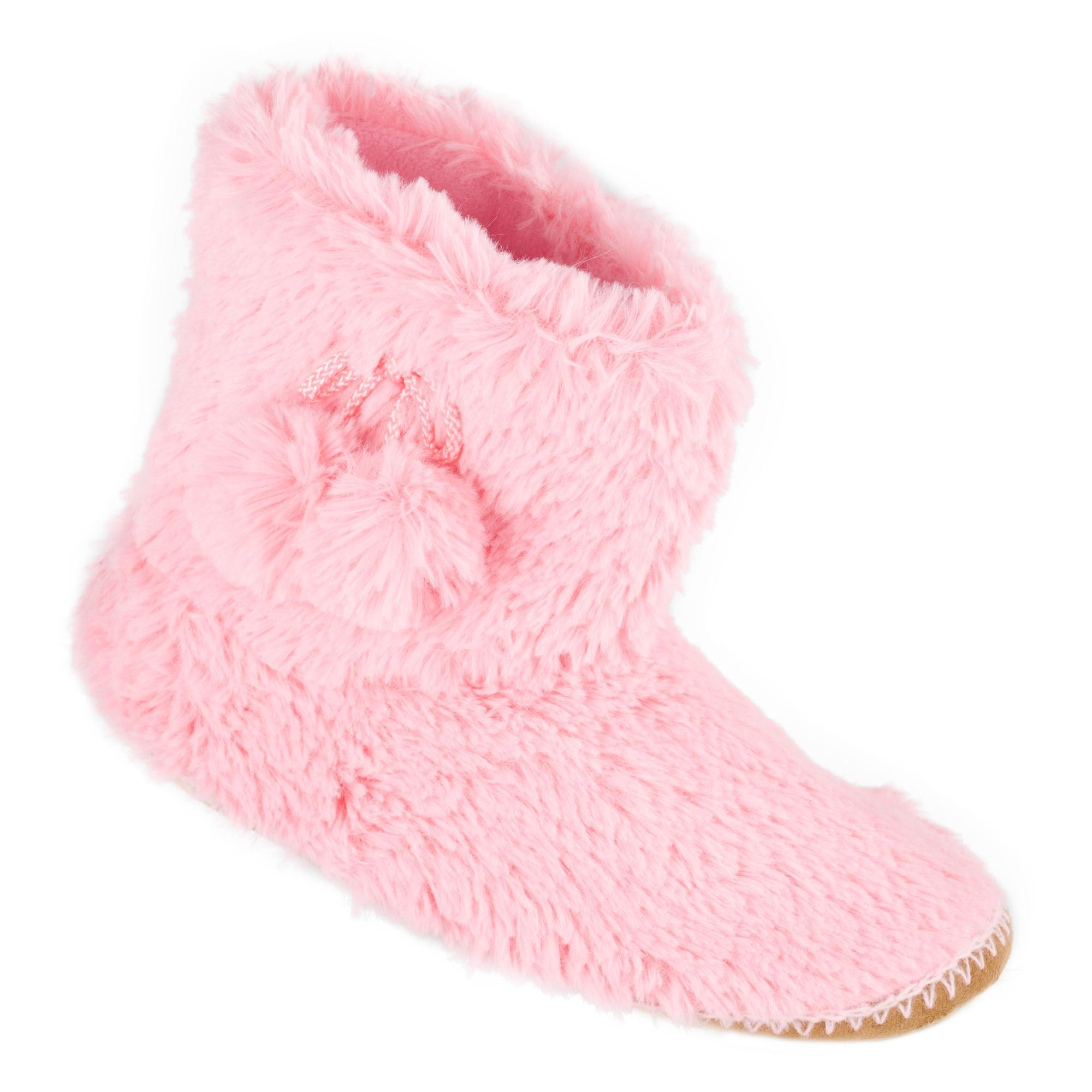 Peter Storm Girls Saskia Full Fur Slipper Boots Pink