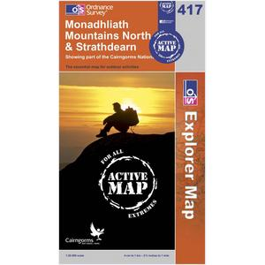 ORDNANCE SURVEY Explorer Active 417 Monadhliath Mountains North & Strathdearn Map