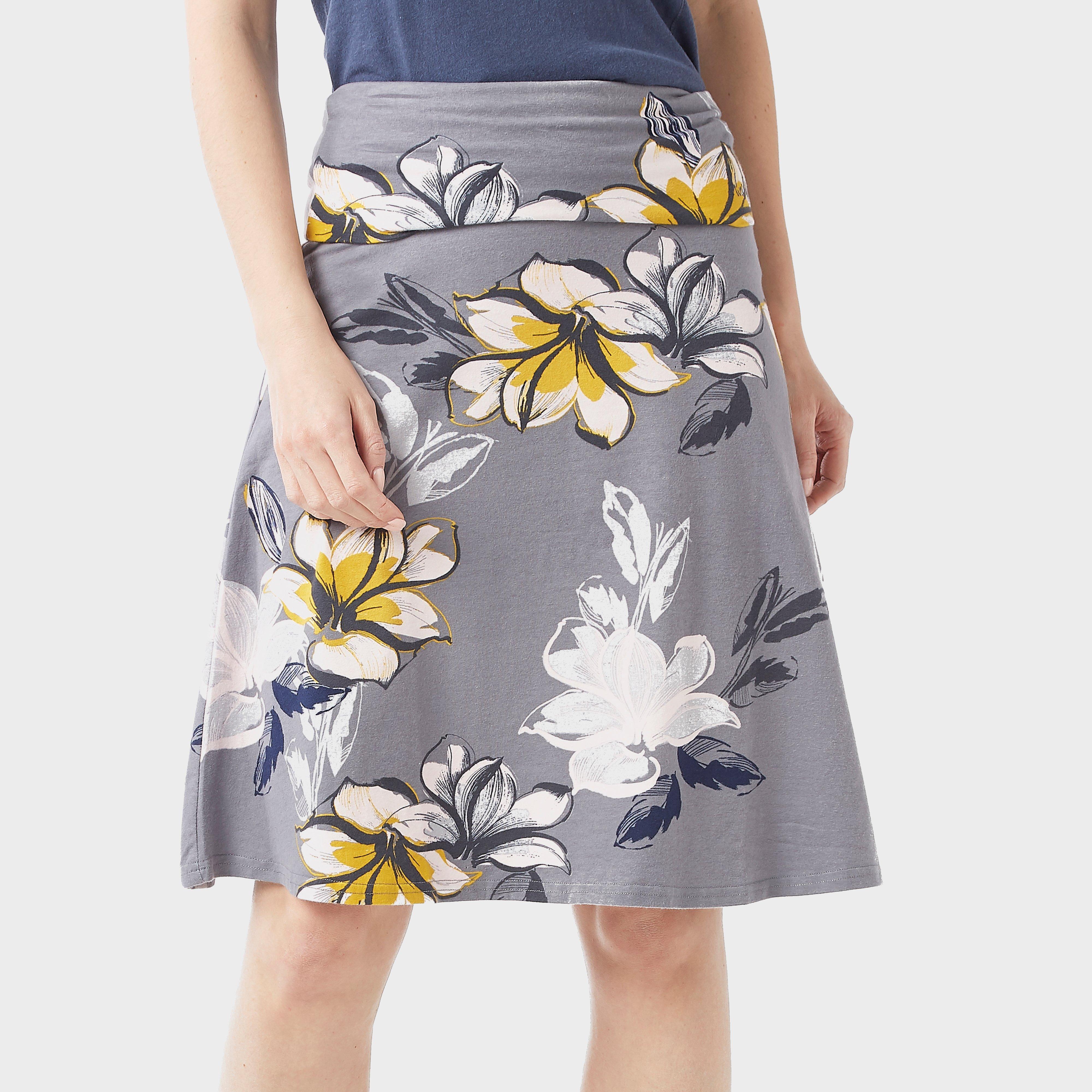 Weird Fish Women's Malmo Floral Skirt, Grey