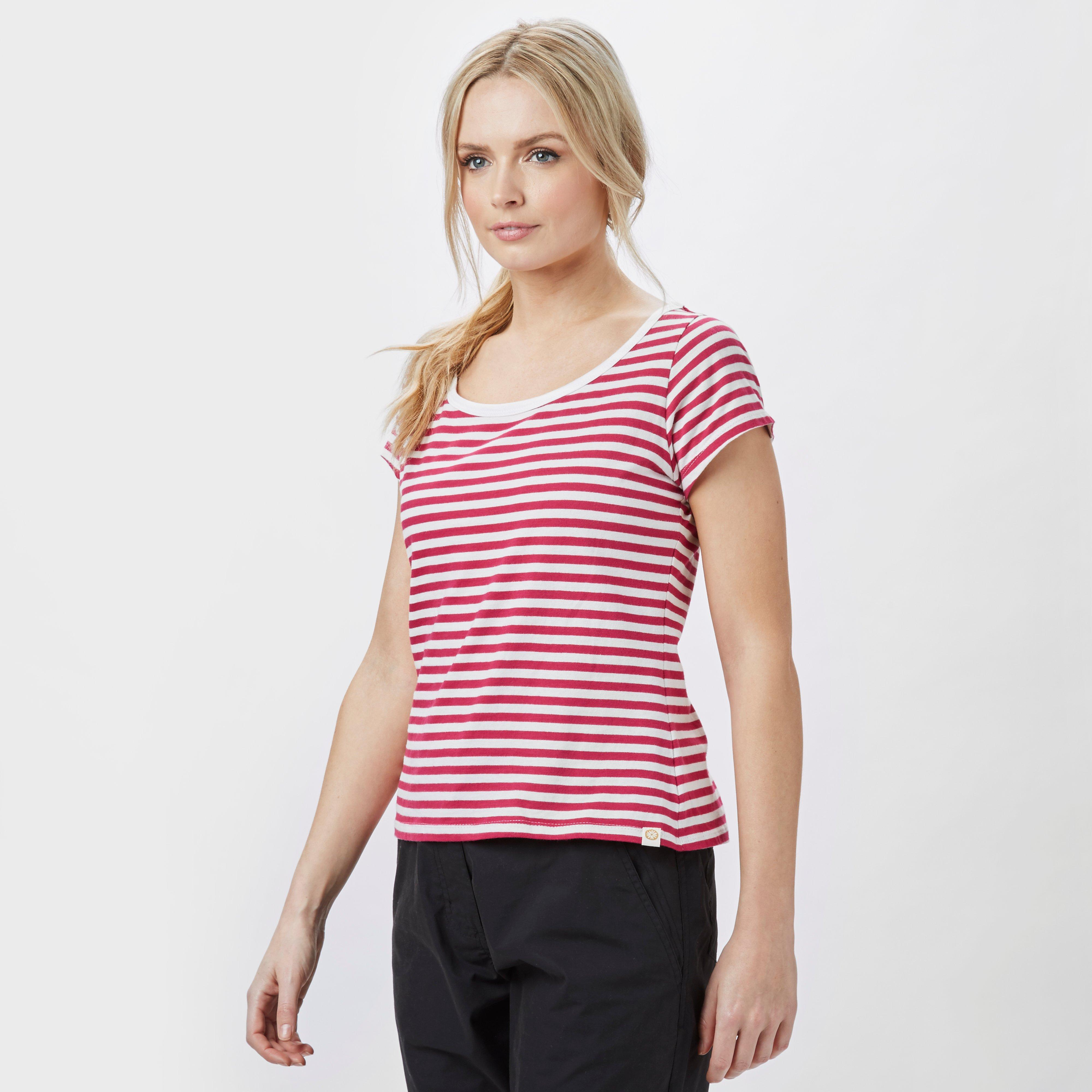 One Earth Women's Maria Striped Tee, Red