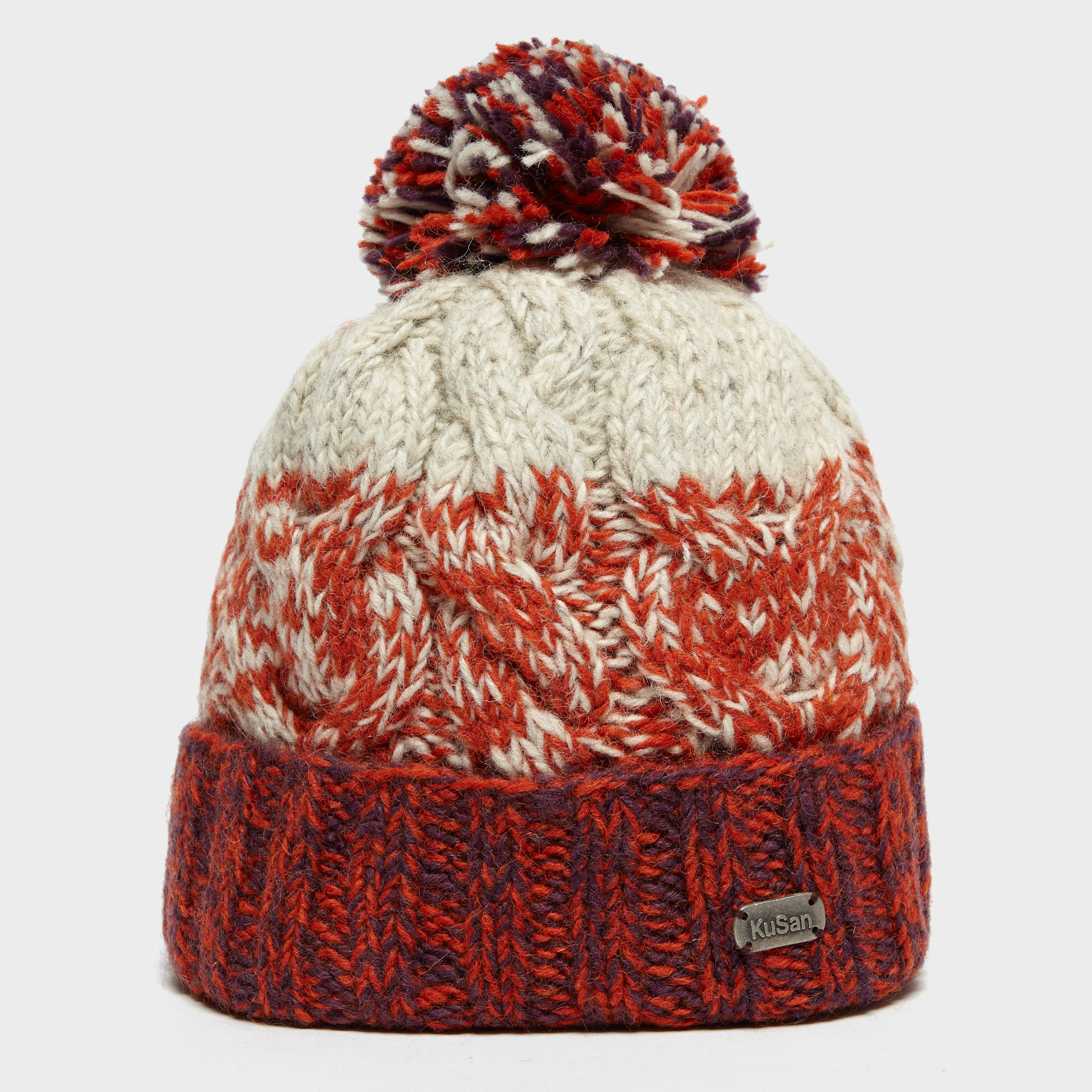 Kusan Women's Cable Bobble Beanie Hat, Red