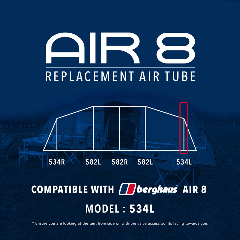 Eurohike Air 8 Tent Replacement Air Tube - 534l - Black  Black