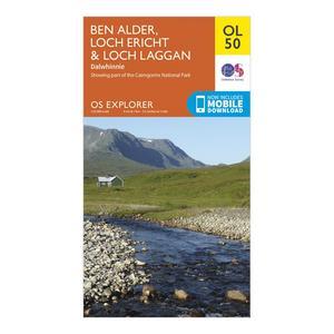 ORDNANCE SURVEY OL 50 Explorer Ben Alder, Loch Ericht & Loch Laggan Map