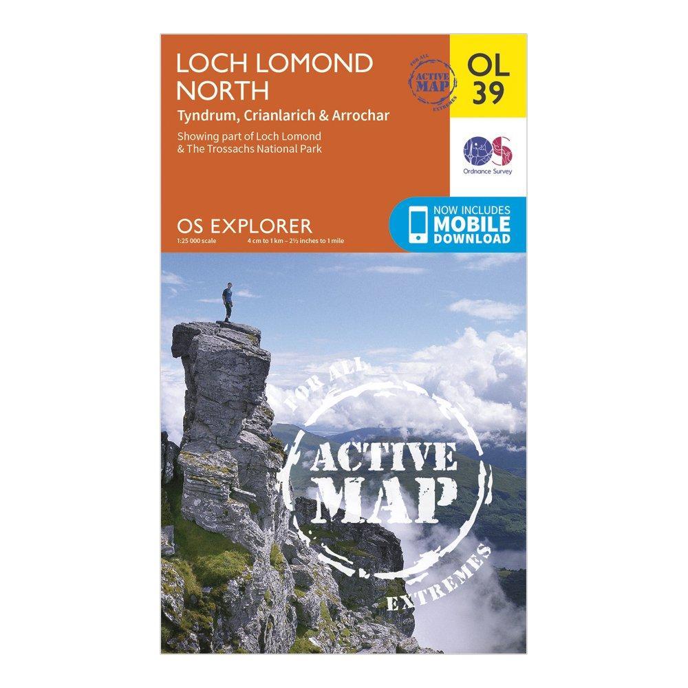 Ordnance Survey Active Explorer OL 39 Loch Lomond North Map, Orange/D