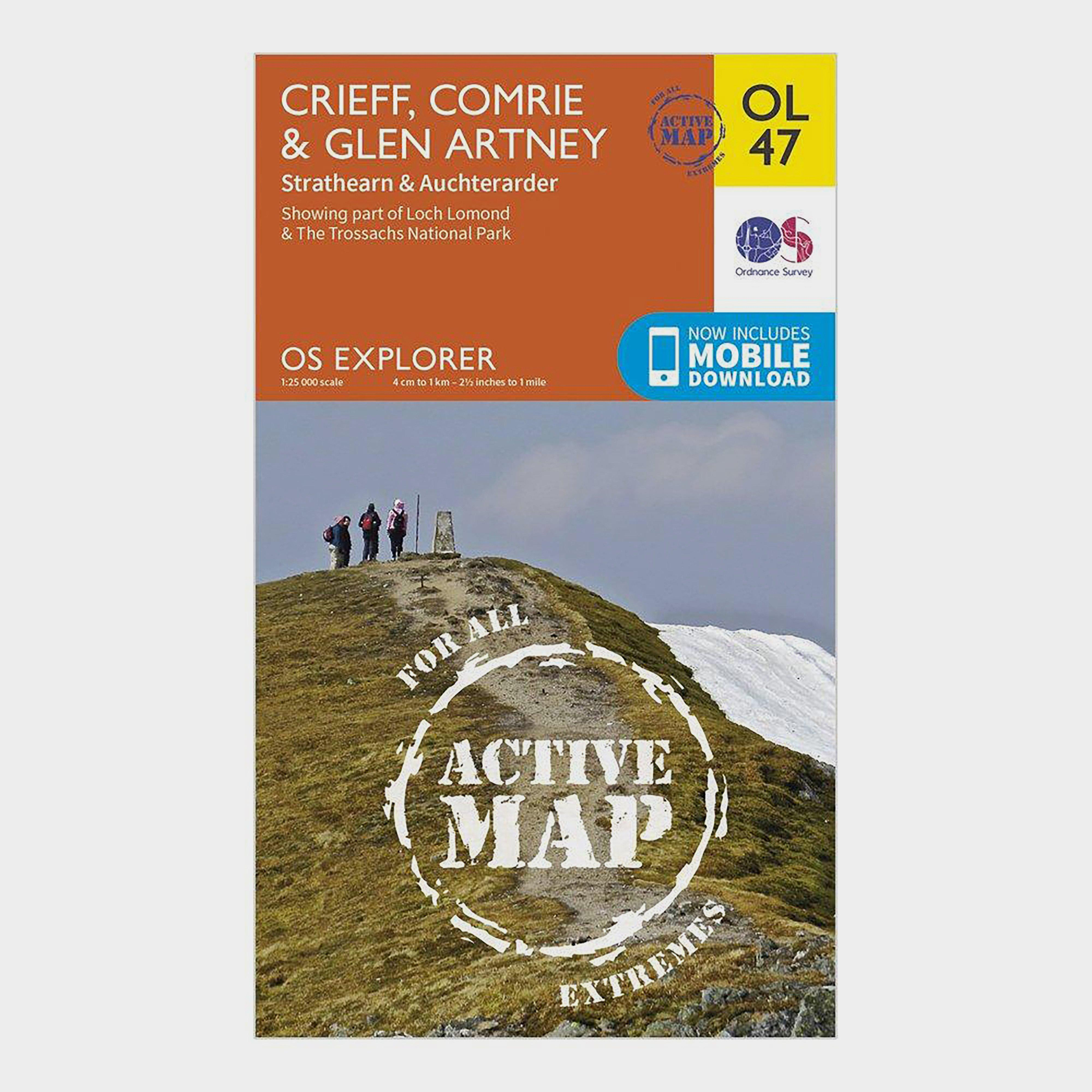Ordnance Survey Active Explorer OL 47 Crieff, Comrie & Glen Artney Map, Orange/D