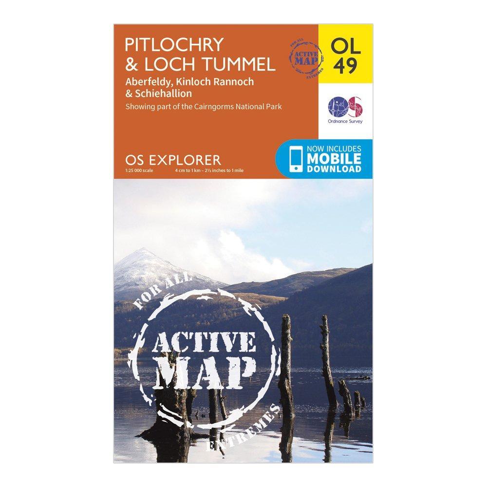 Ordnance Survey Active Explorer OL 49 Pitlochry & Loch Tummel Map, Orange/D