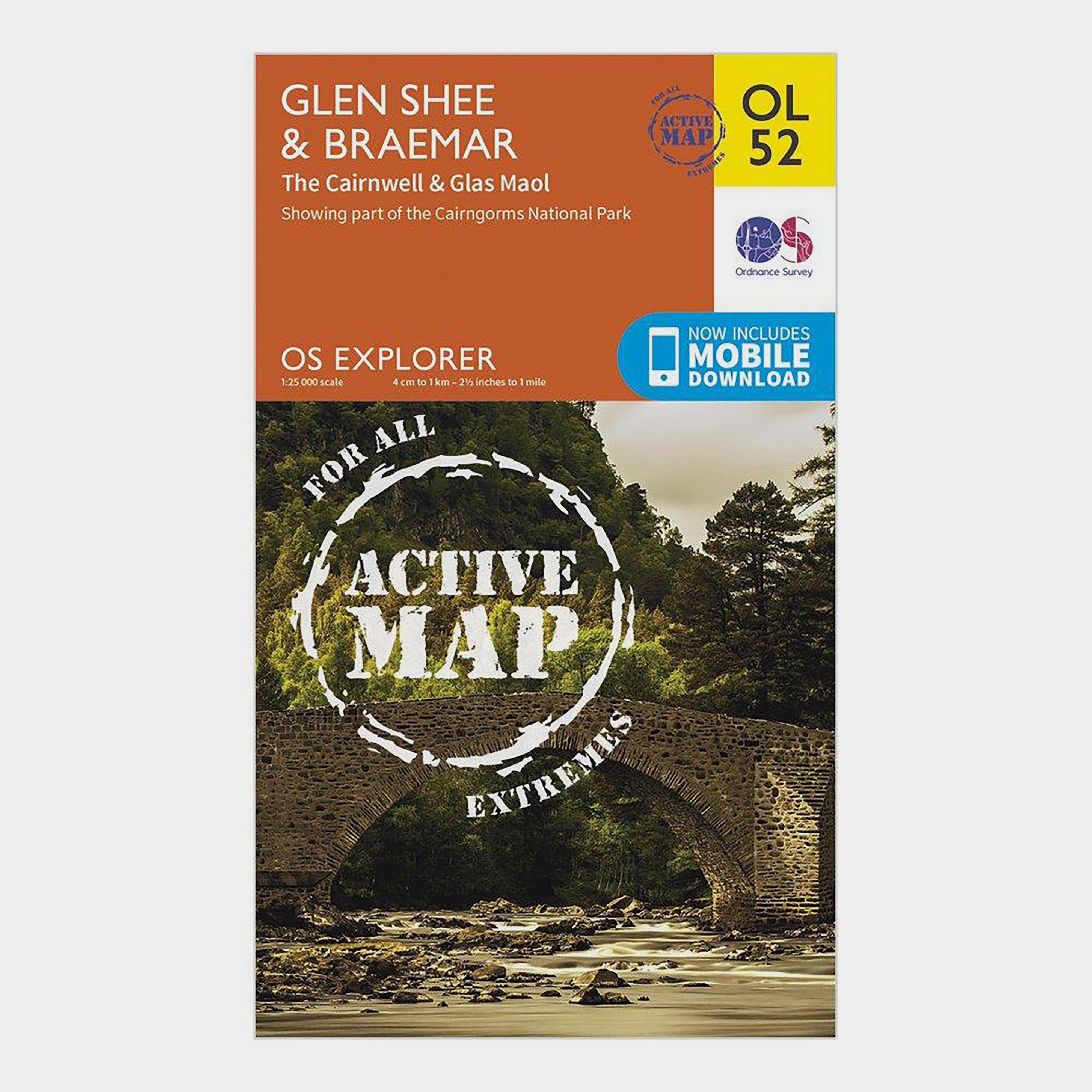 Ordnance Survey Explorer Ol 52 Active D Glen SheeandBraemar Map - Orange/d  Orange/d