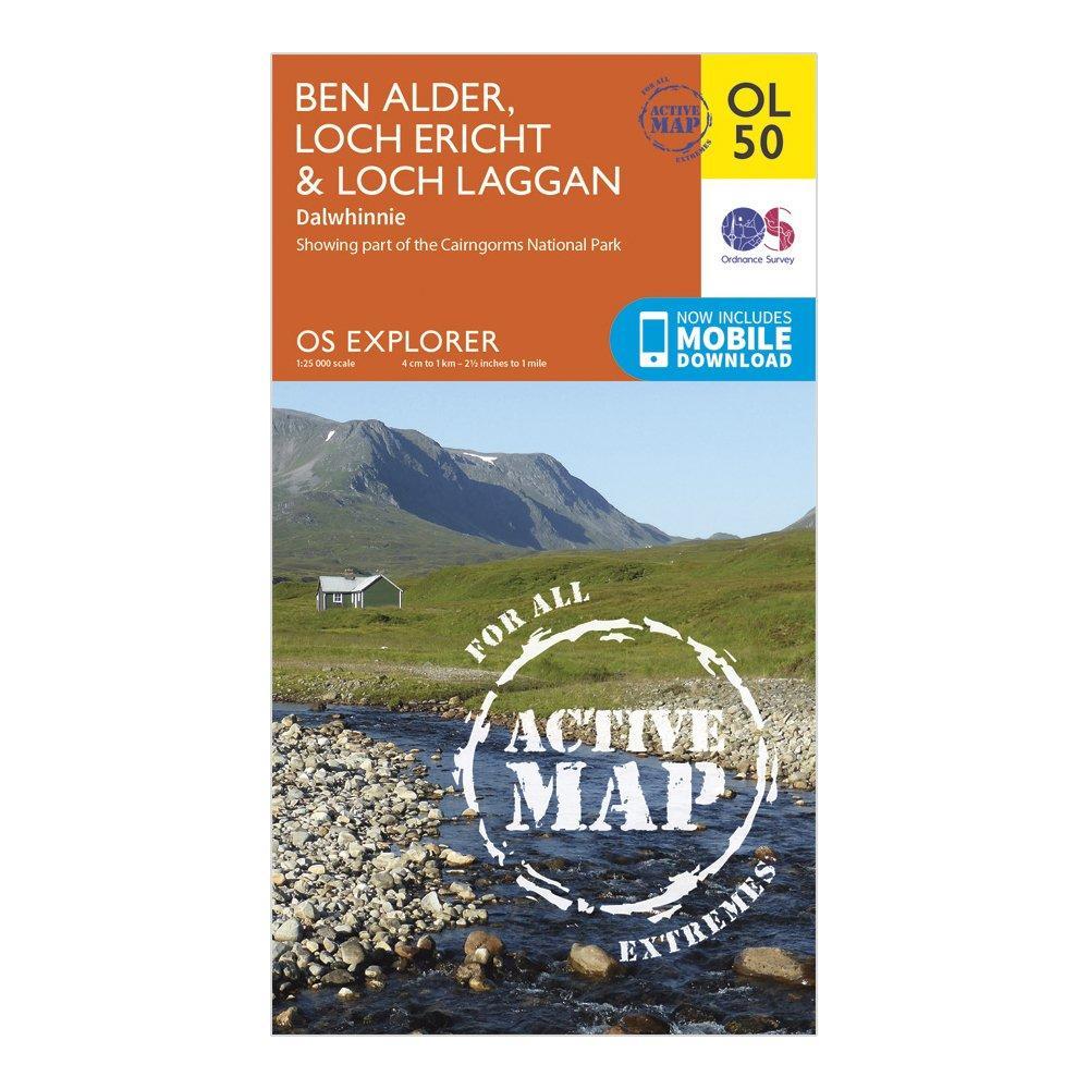 Ordnance Survey Explorer Ol 50 Active D Ben Alder  Loch ErichtandLoch Laggan Map - Orange/d  Orange/d