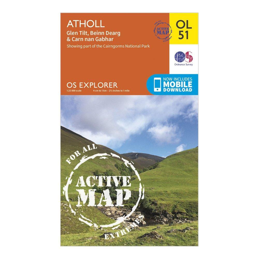 Ordnance Survey Explorer Ol 51 Active D Atholl Map - Orange/d  Orange/d