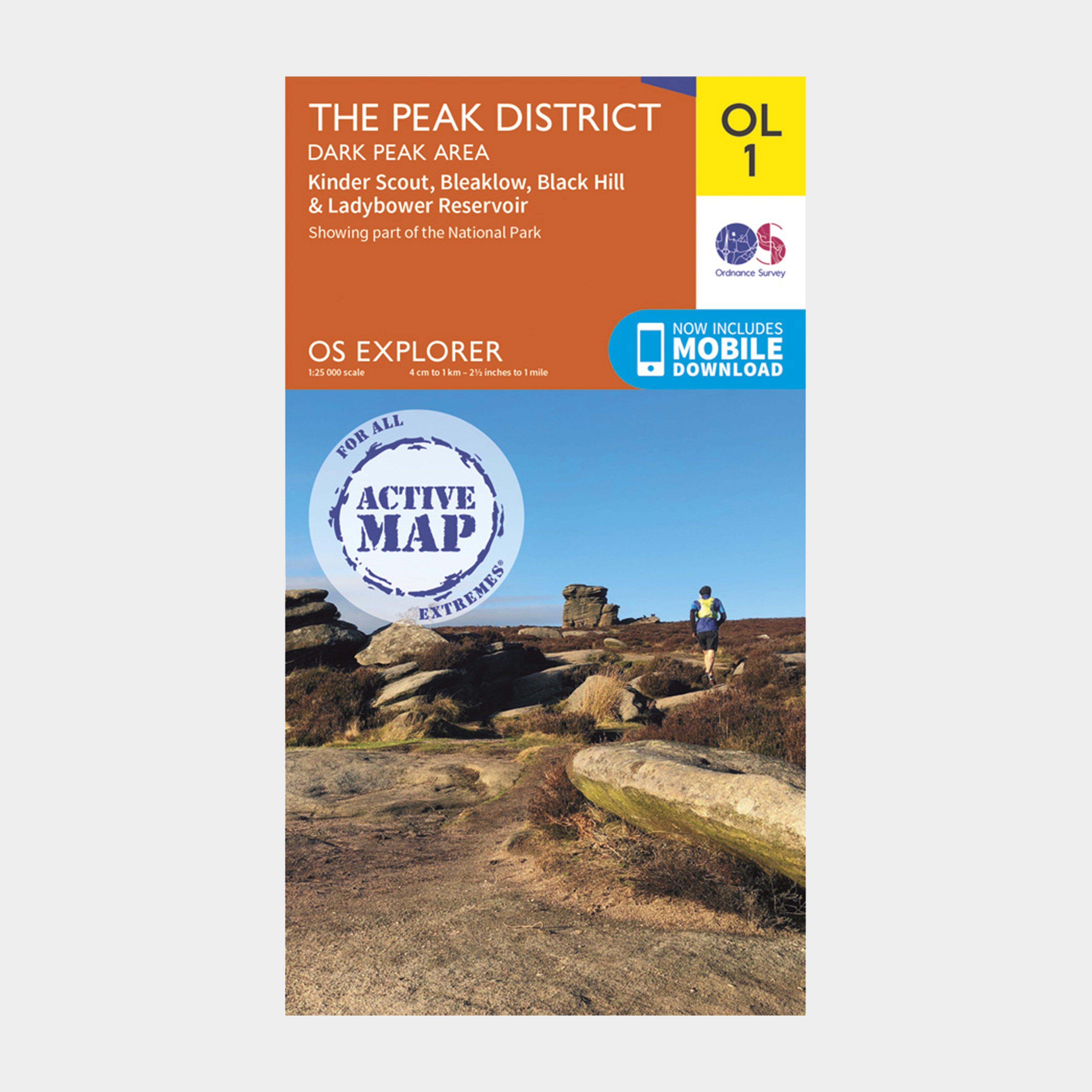 Ordnance Survey Explorer Active Ol1 The Peak District - Dark Peak Area Map - Orange/d  Orange/d