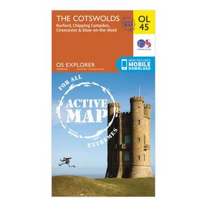 ORDNANCE SURVEY Explorer OL 45 Active D The Cotswolds Map