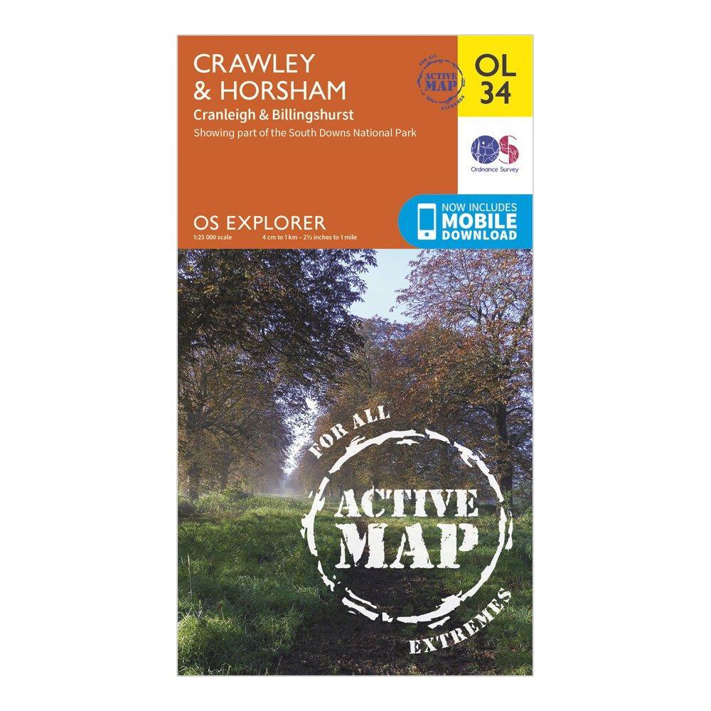 Ordnance Survey Explorer Ol 34 Active D CrawleyandHorsham Map - Orange/d  Orange/d