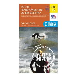 ORDNANCE SURVEY Explorer Active OL 36 South Pembrokeshire Map