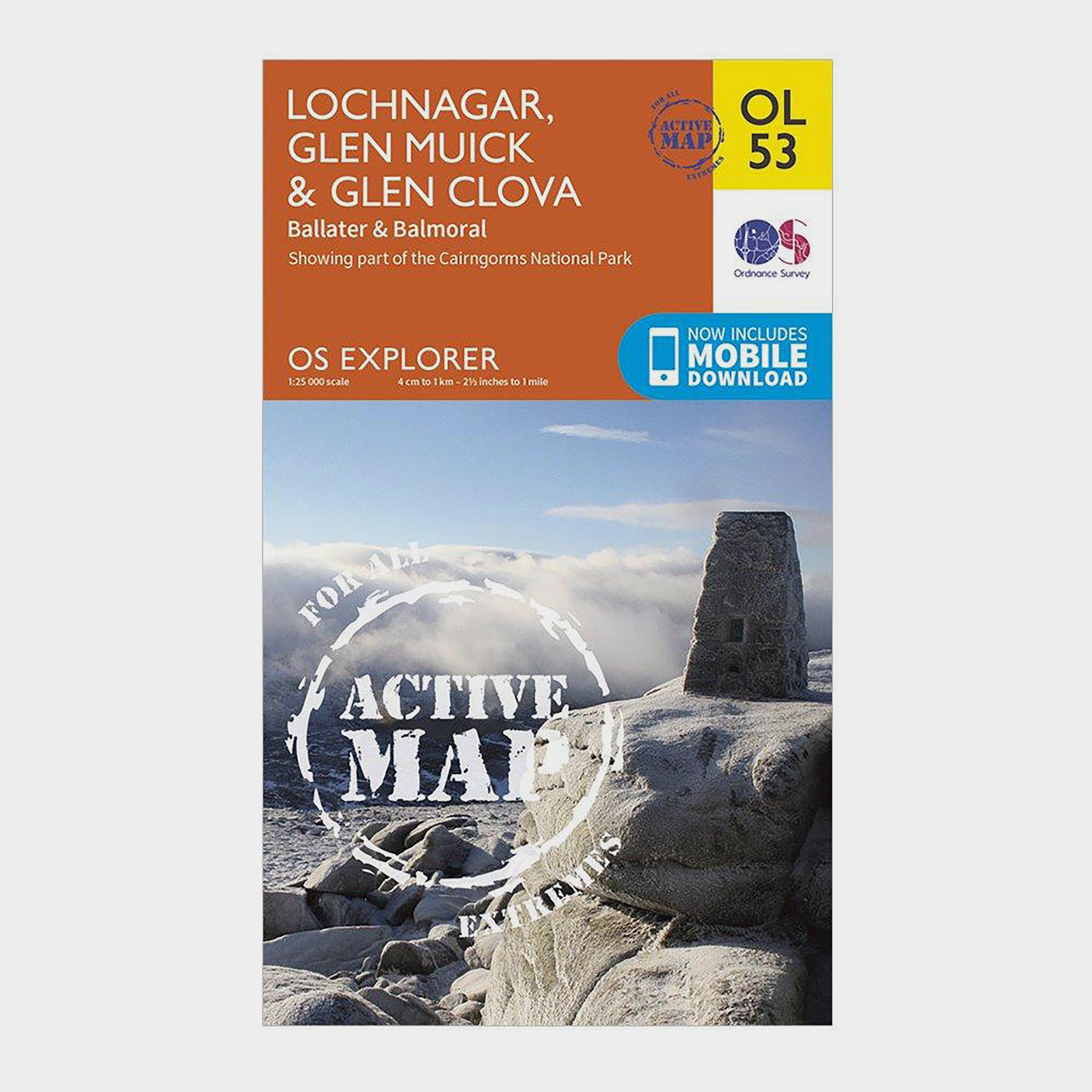 Ordnance Survey Explorer Active Ol 53 Lochnagar  Glen MuickandGlen Clova Map - D/d  D/d
