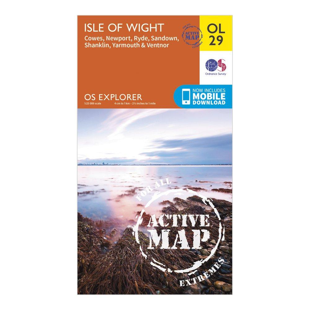 Ordnance Survey Explorer Active Ol 29 Isle Of Wight Map - Orange/d  Orange/d
