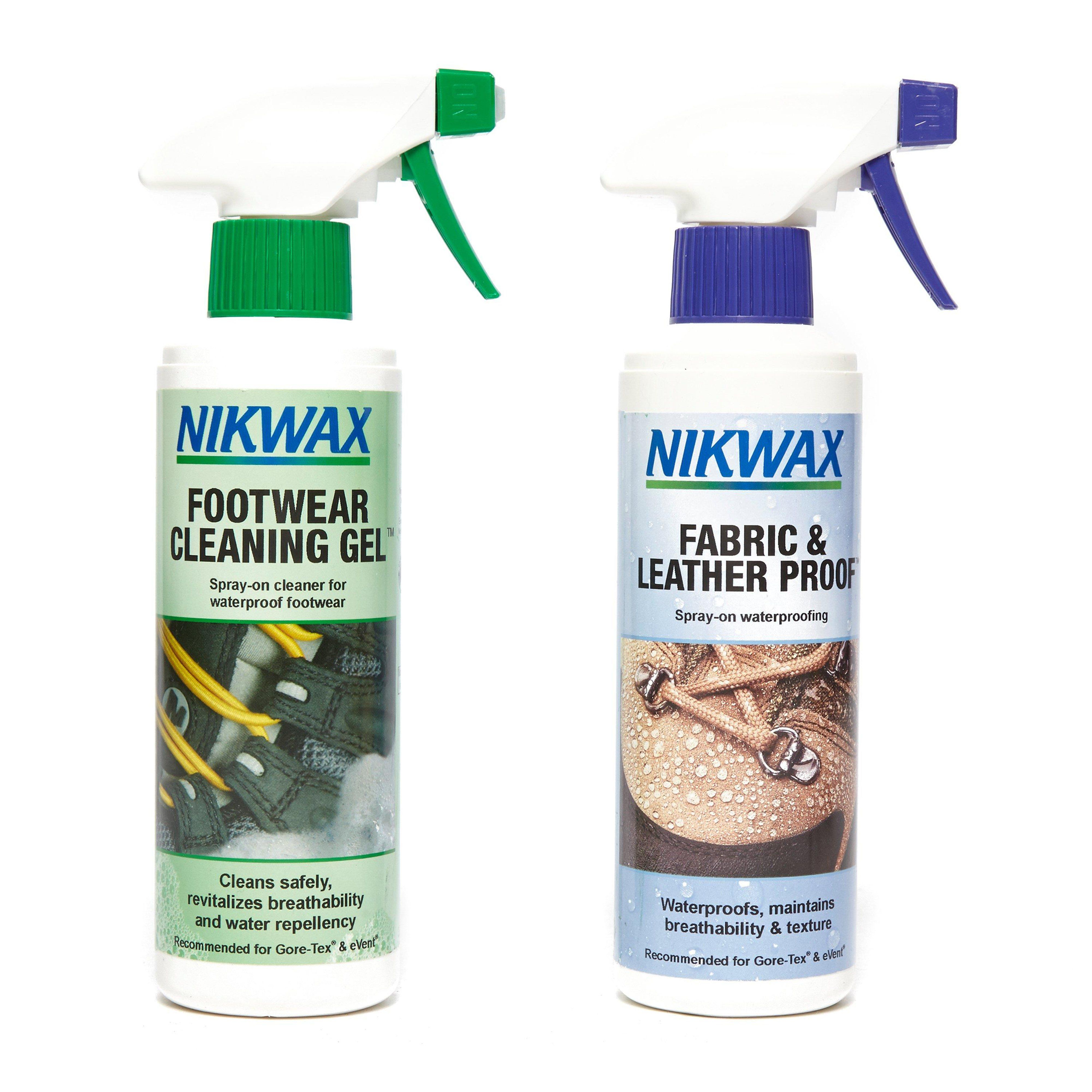 NIKWAX Fabric and Leather Reproofer Spray and Footwear Cleaning Gel 300ml Twin Pack