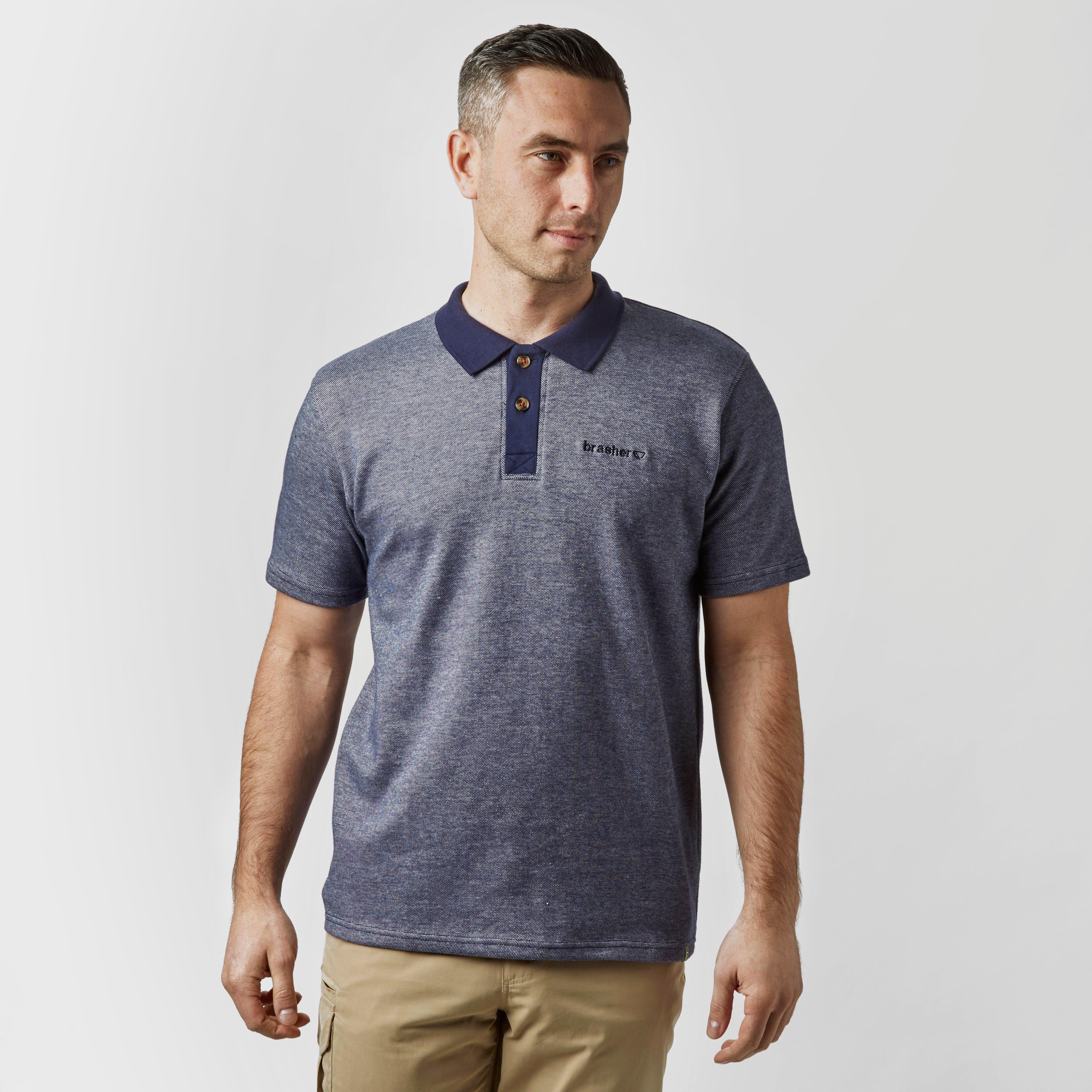 Brasher Mens Robinson Stripe Polo Shirt - Navy/nvy  Navy/nvy
