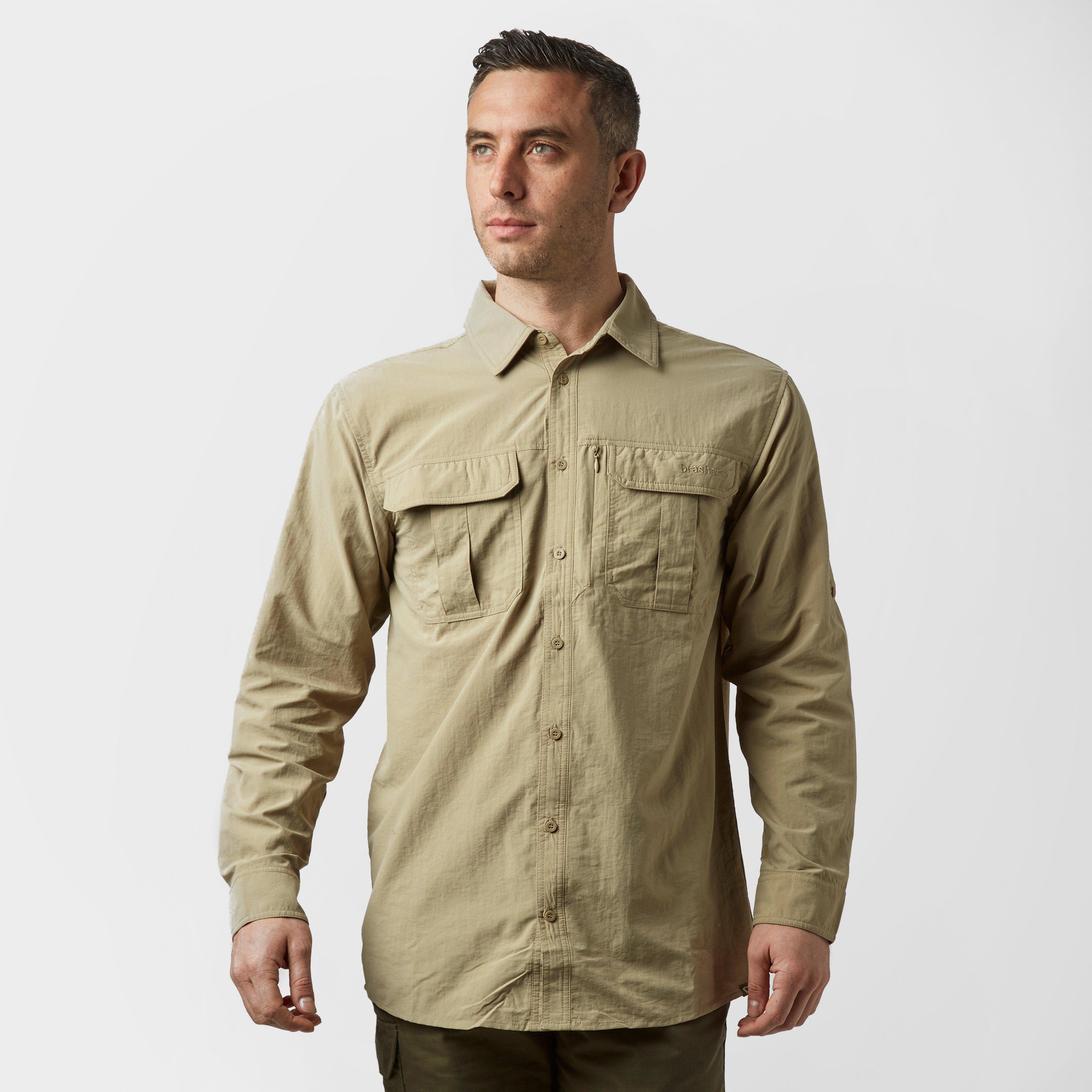 Brasher Mens Long Sleeve Travel Shirt - Beige/lbr  Beige/lbr