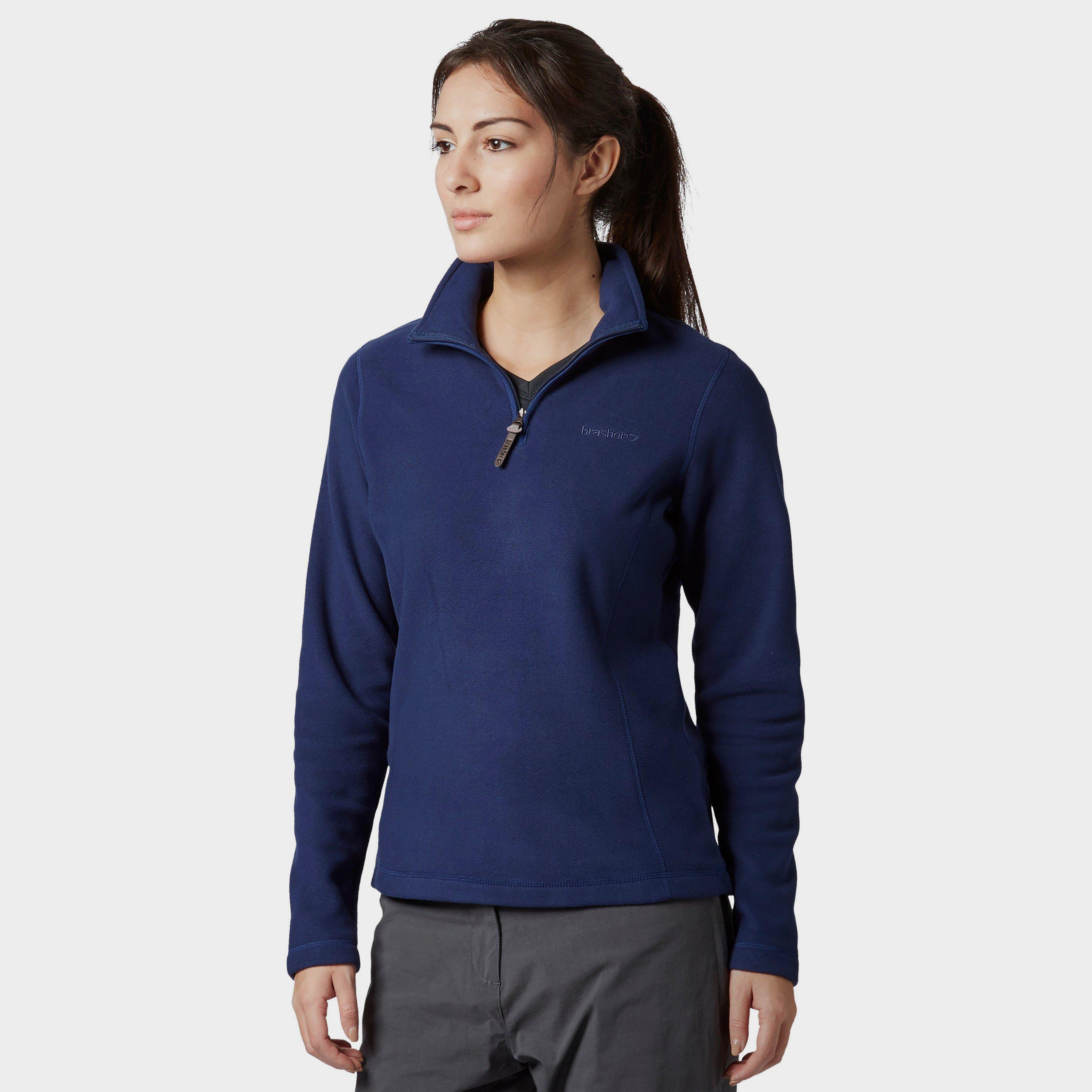 Brasher Women's Bleaberry Half Zip Fleece, Navy