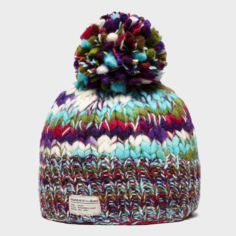 KUSAN Women's Rainbow Bobble Hat