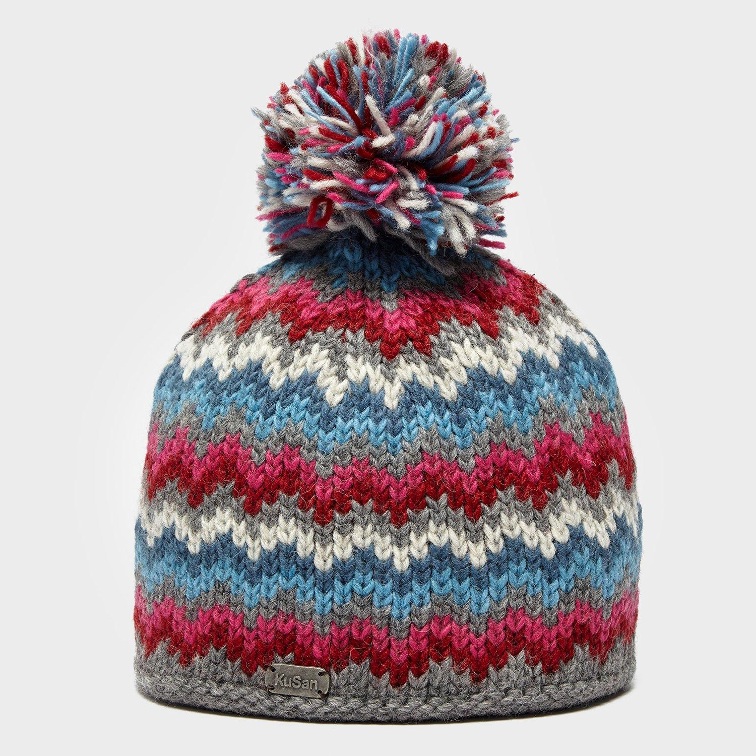 Kusan Women's Zigzag Bobble Hat, Grey