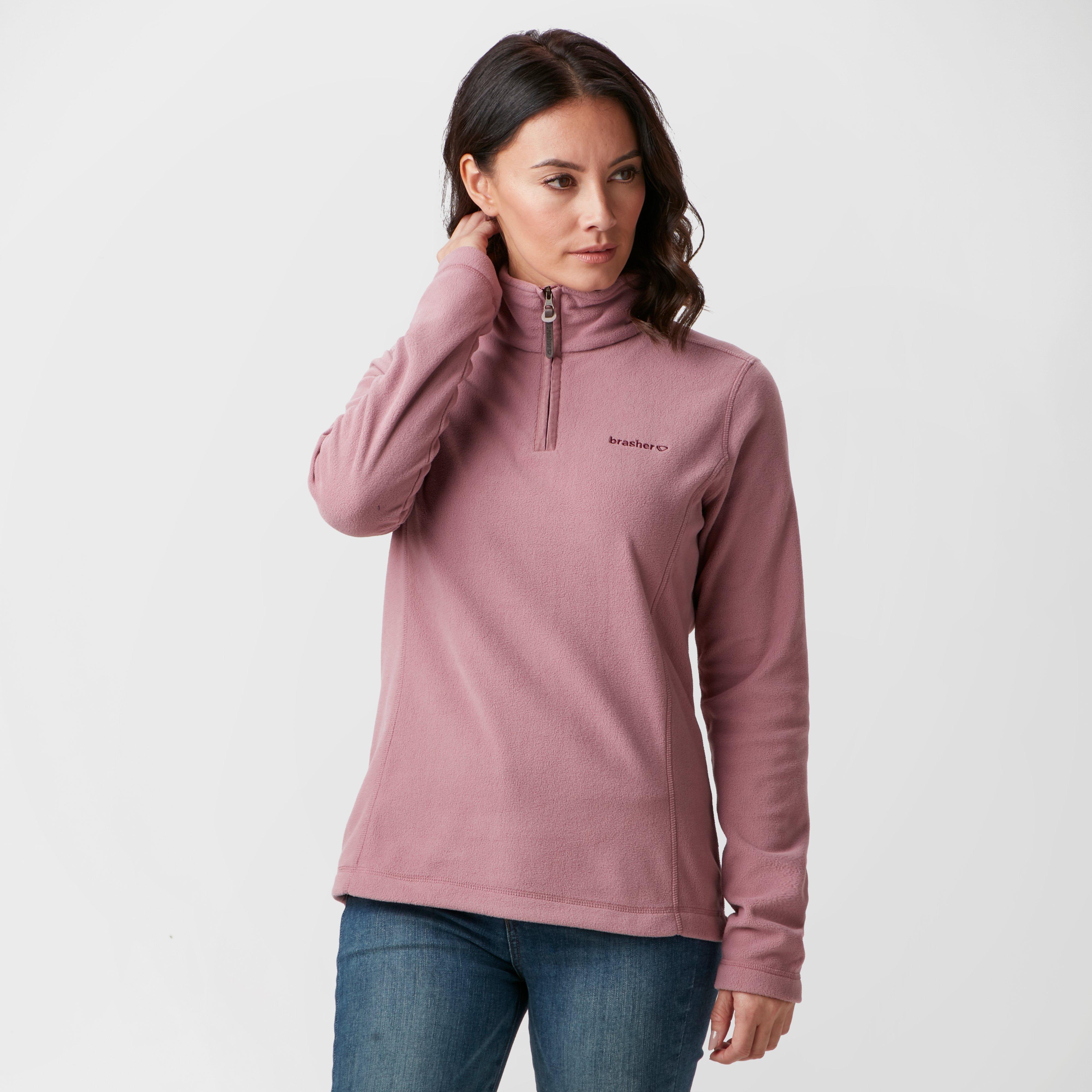 Brasher Women's Bleaberry Half Zip Fleece, Pink