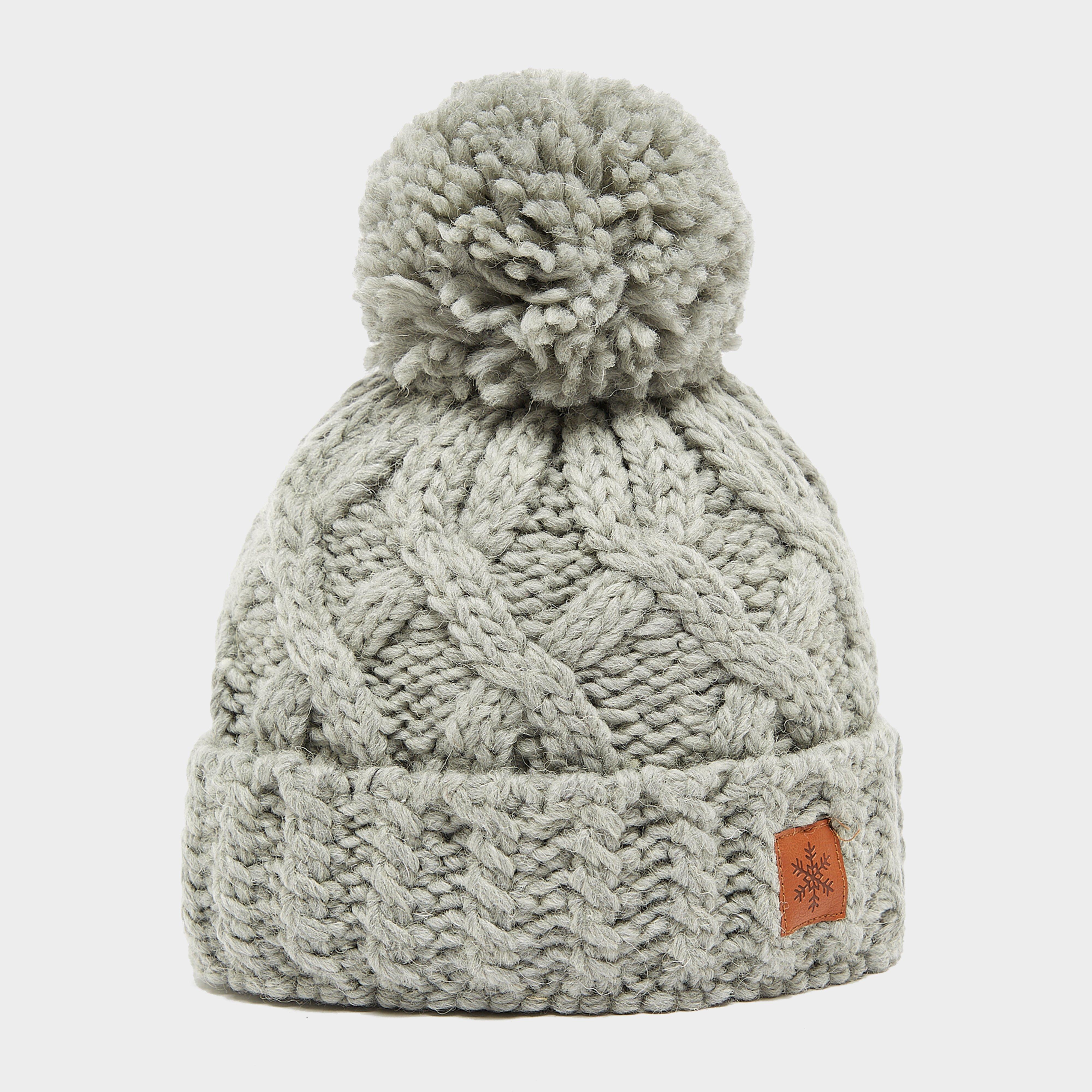 Alpine Women's Chunky Bobble Hat, Grey