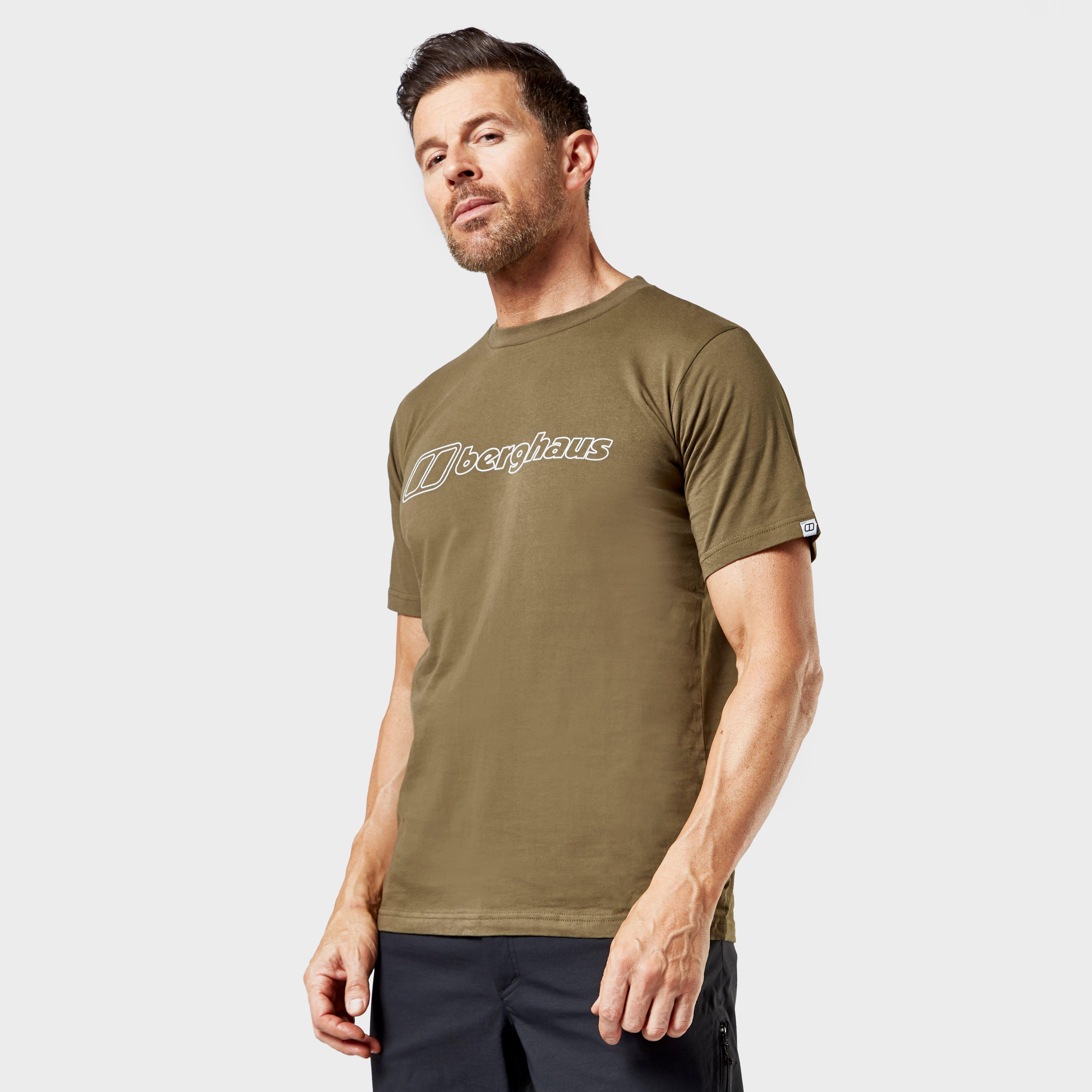 Berghaus Mens Big Outline Logo T-shirt - Green/tee  Green/tee