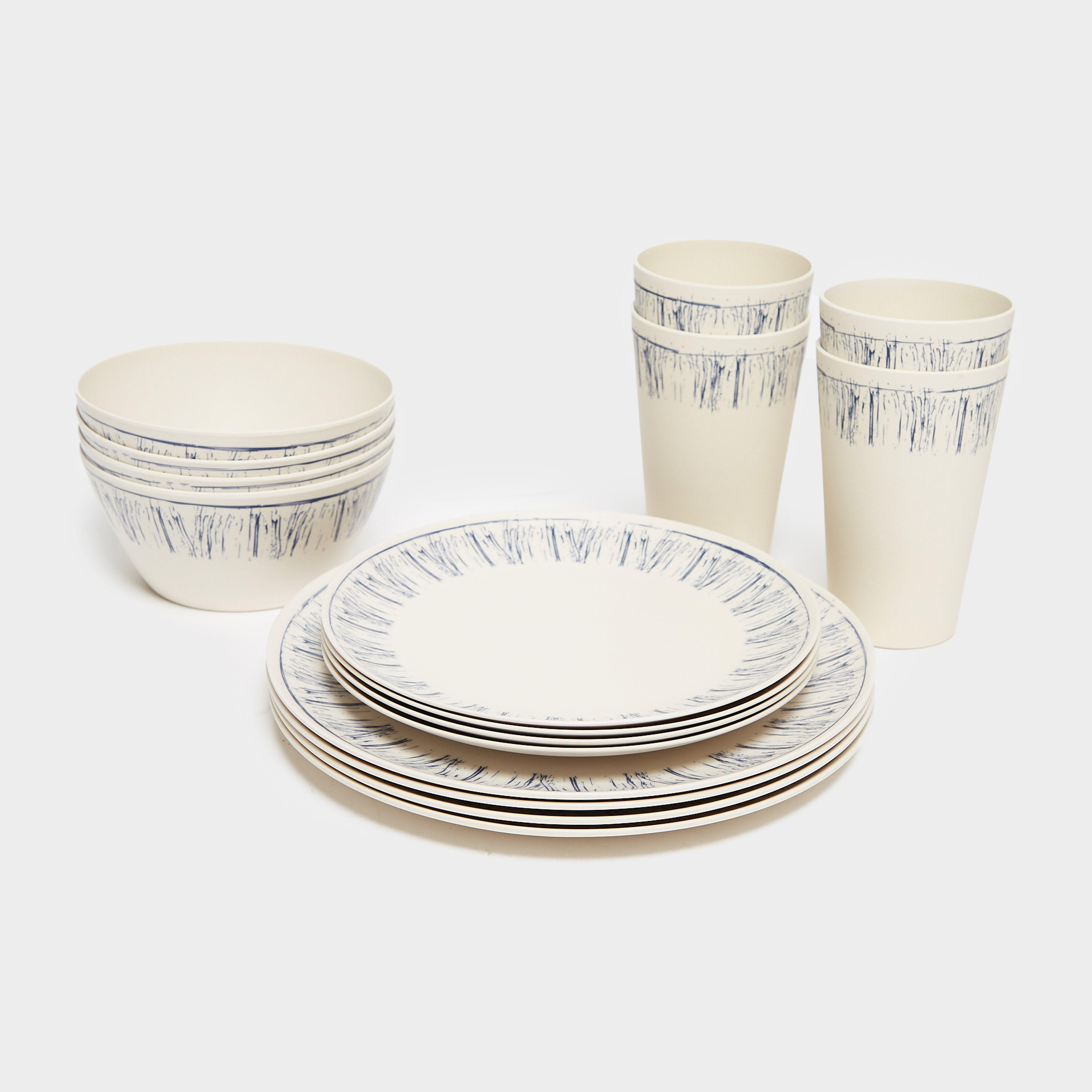 HI-GEAR 16 Piece Bamboo Tableware Set, Cream/Cream