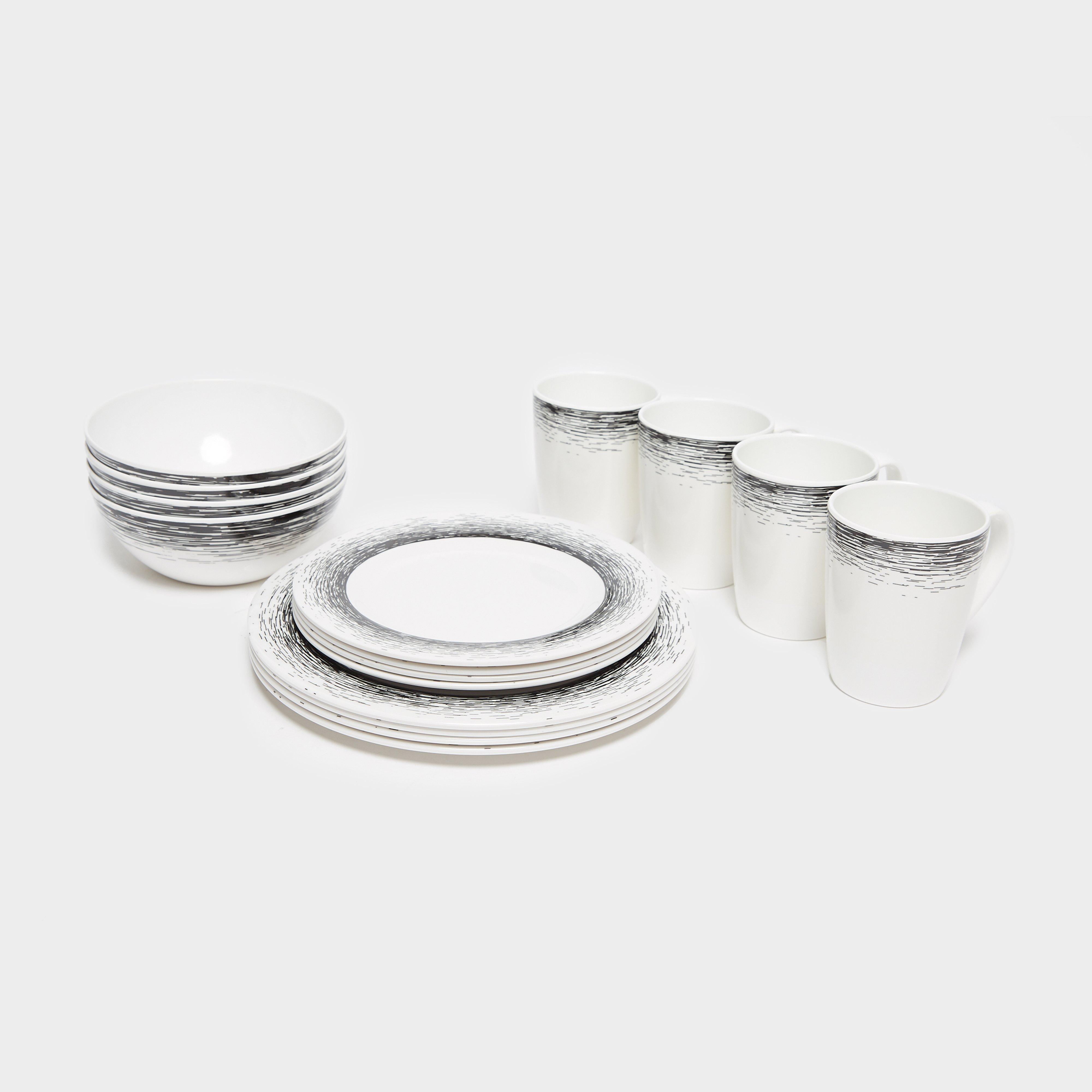 HI-GEAR 16 Piece Melamine Plastic Tableware Set, White/White