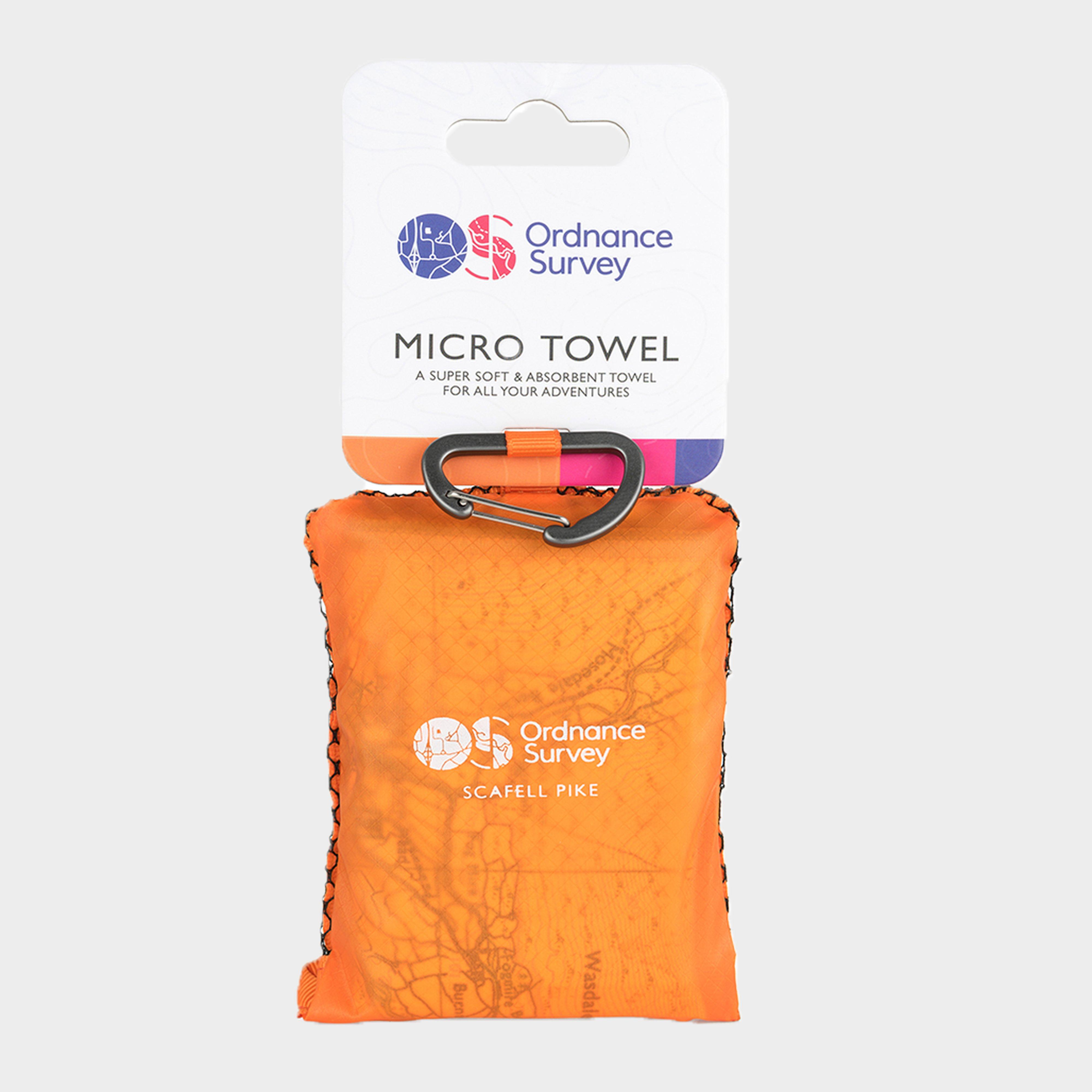 Ordnance Survey Lake District Micro Towel - Orange/cream  Orange/cream