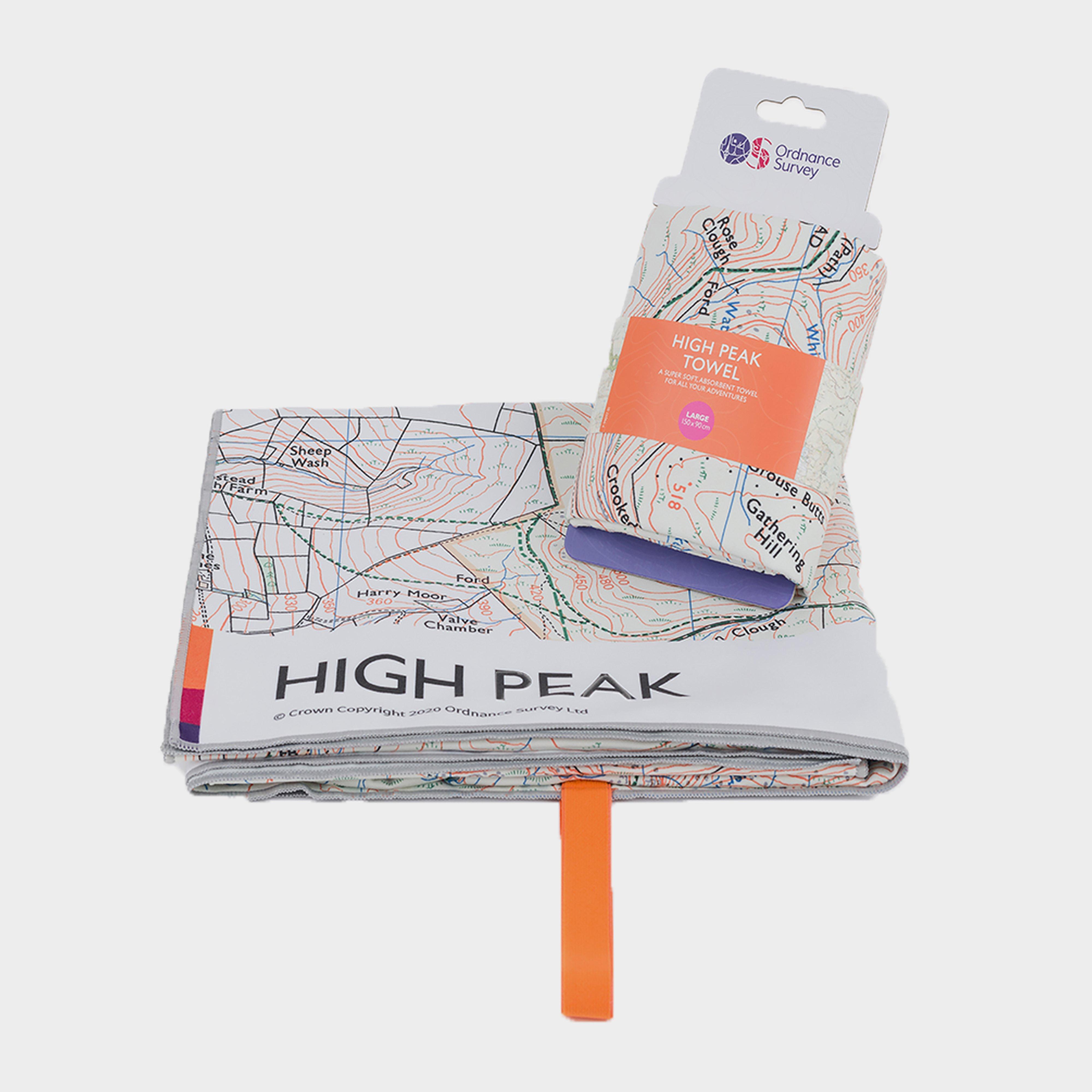 Ordnance Survey High Peak Large Travel Towel - White/white  White/white