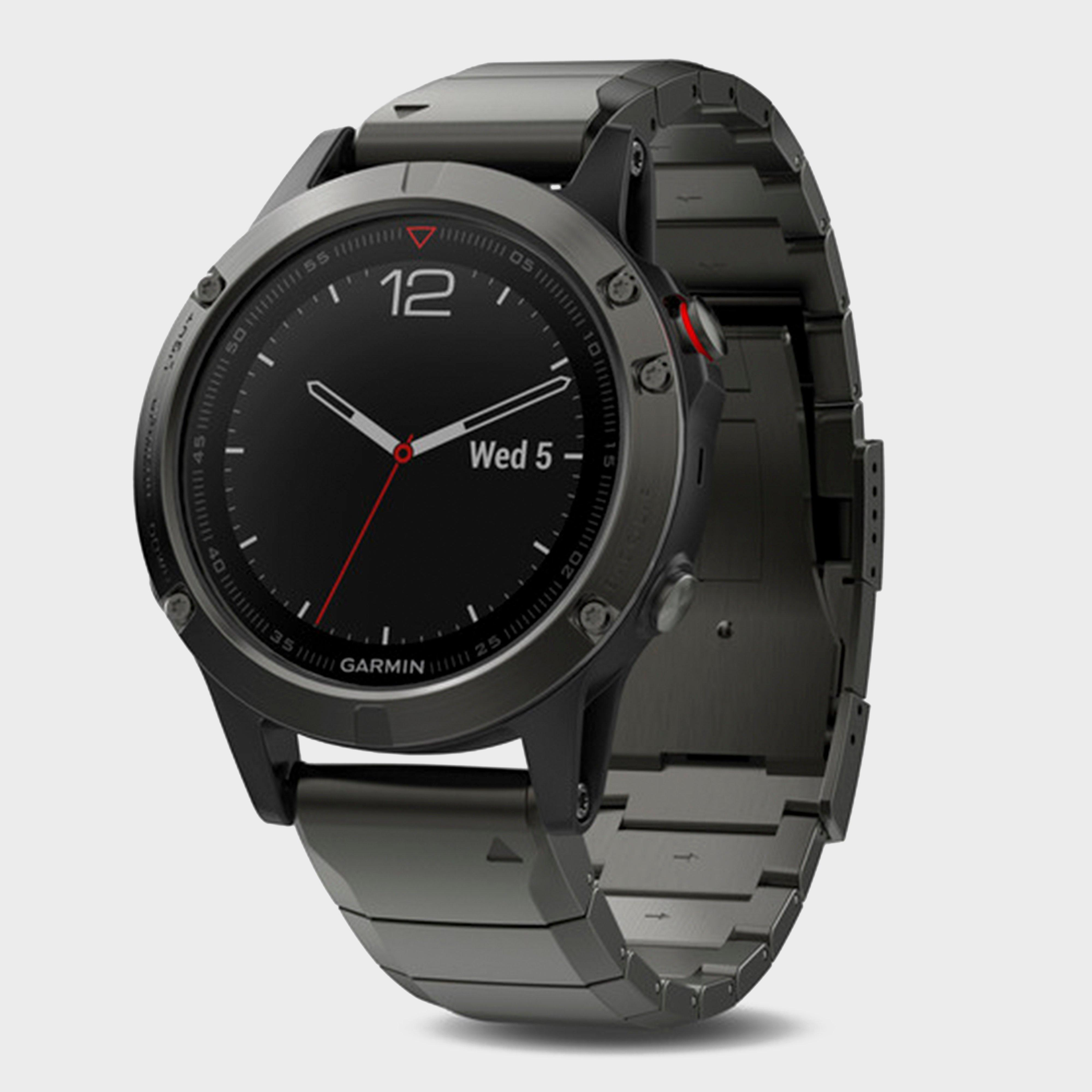 Garmin Fenix 5 Sapphire Multi-Sport GPS Watch With Metal Band, Dark Grey/Dark Grey