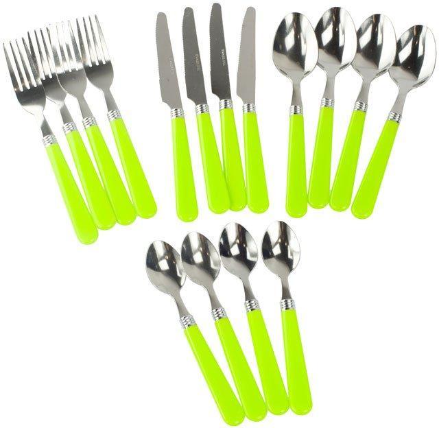 HI-GEAR 16 Piece Cutlery Set, LIME/SET