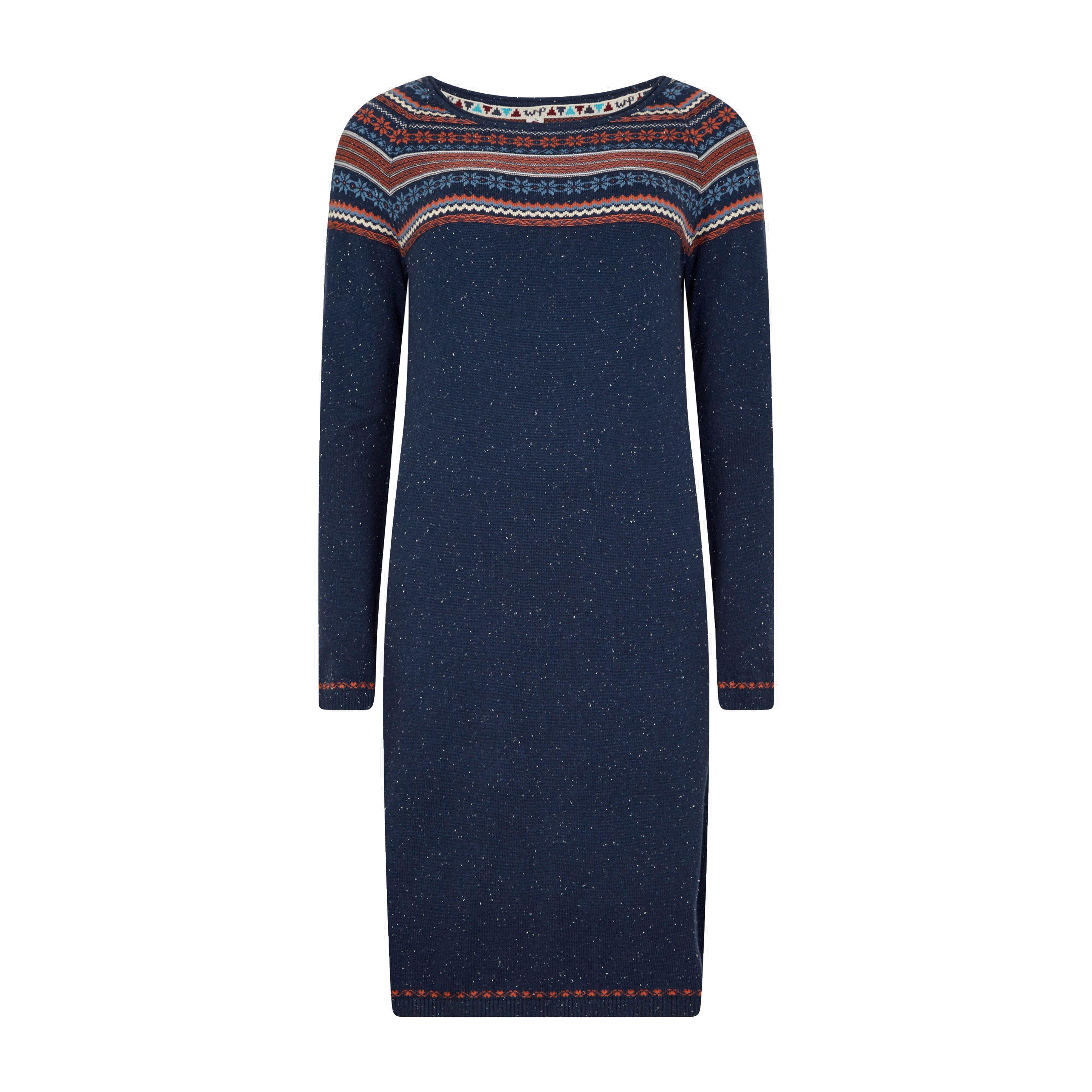 Weird Fish Women's Sebah Fair Isle Knitted Dress, NAVY/NAVY