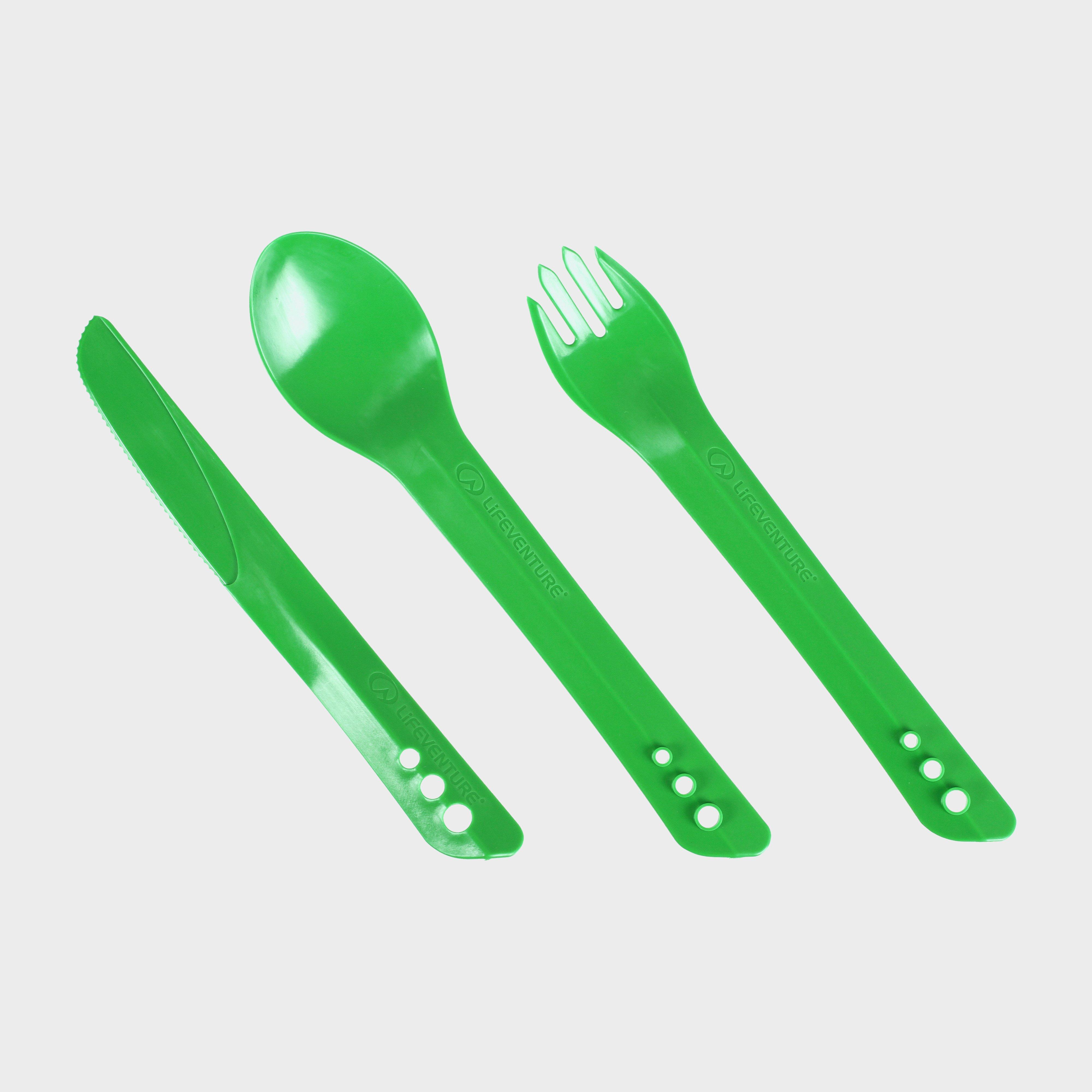 LIFEVENTURE Ellipse Camping Cutlery Set, Green/Greeen