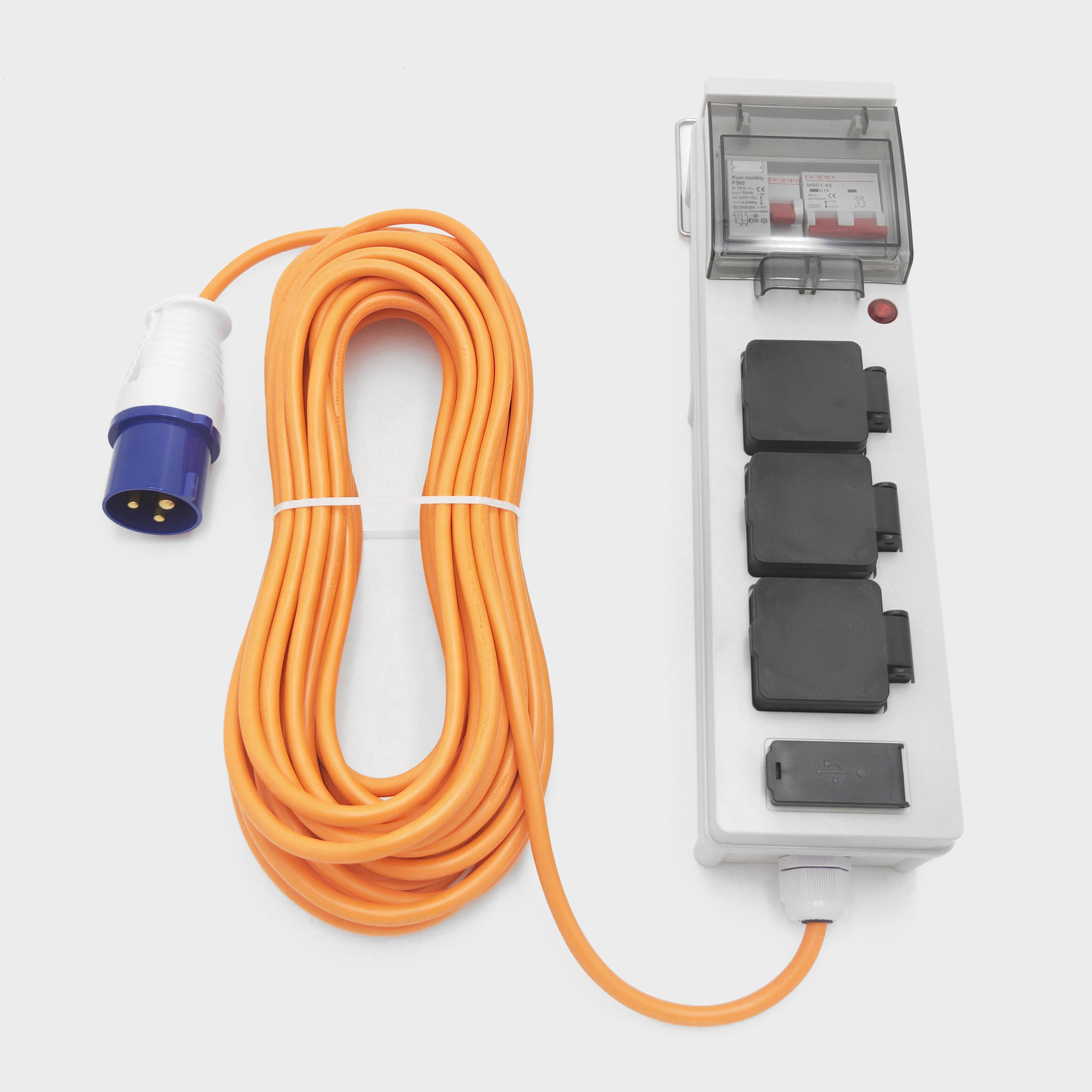 Eurohike Mobile Mains Kit with USB (15m), Multi/LGY
