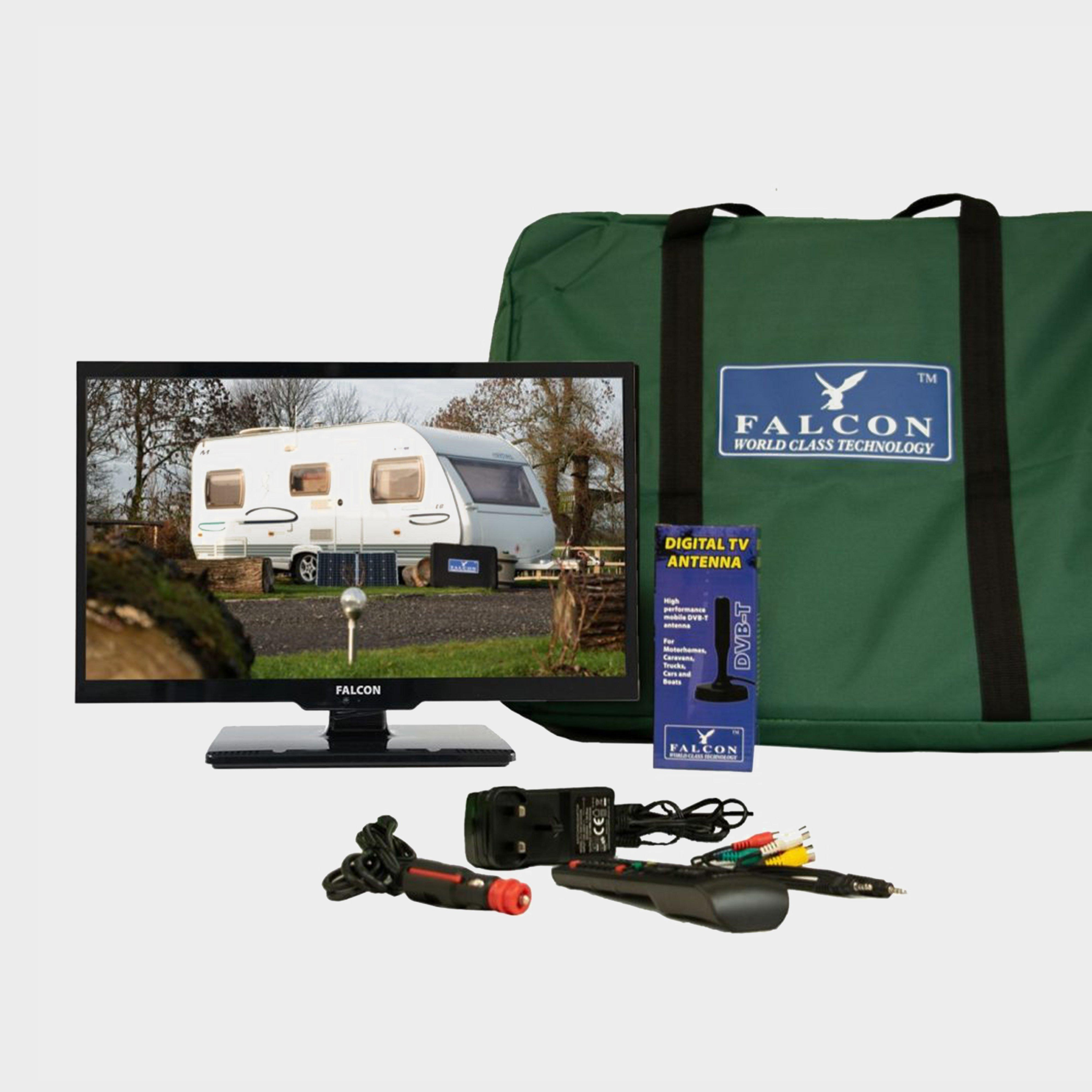 """Falcon TV Plus Pack - 16"""" LED, 12V & Mains with Freeview Antenna, Black/Black"""