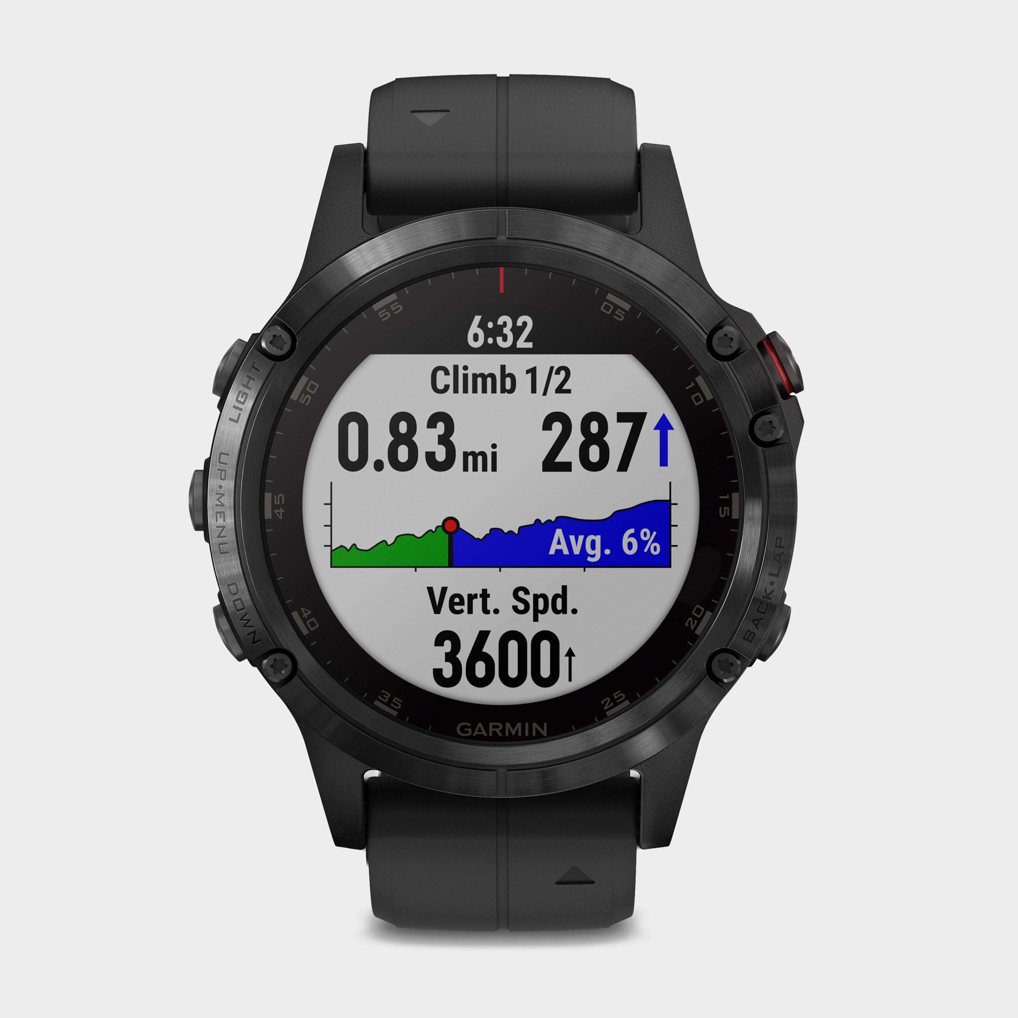 Garmin Fenix 5 Plus Sapphire Multi-Sport GPS Watch, Black/Black