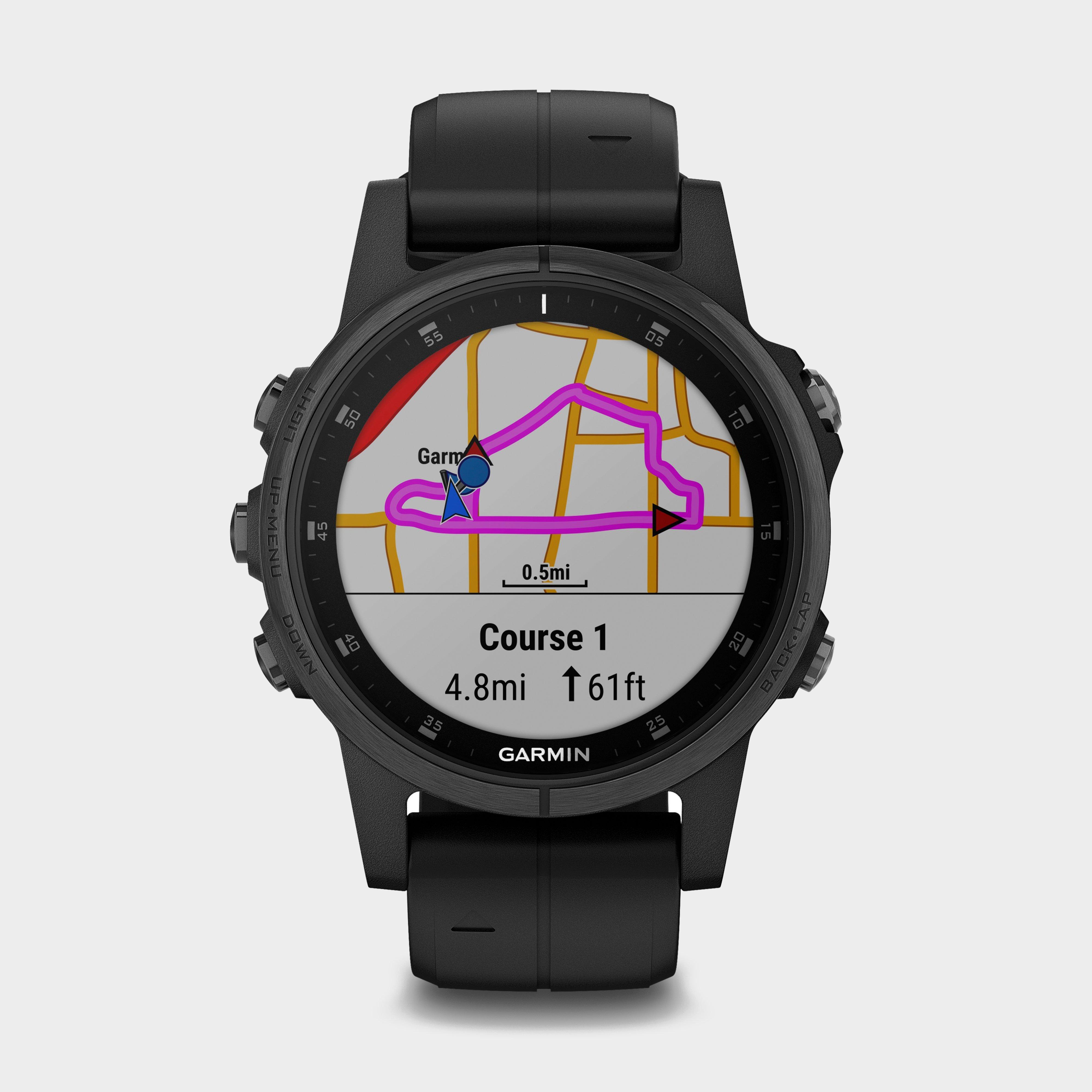 Garmin Fenix 5S Plus Multi-Sport GPS Watch, Black/Black
