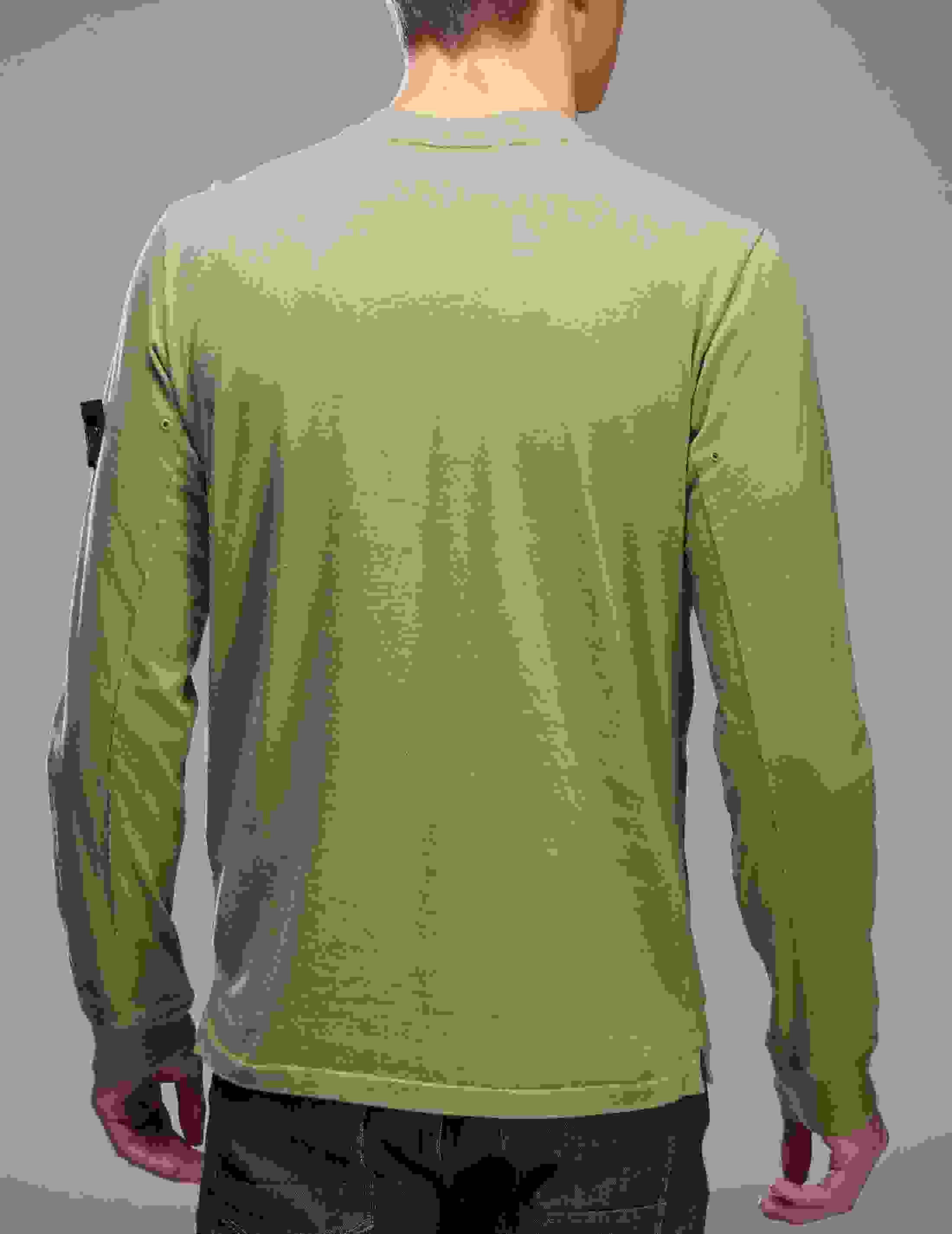 Green Stone Island Sleeve Badge Long Sleeve T-Shirt - Tessuti