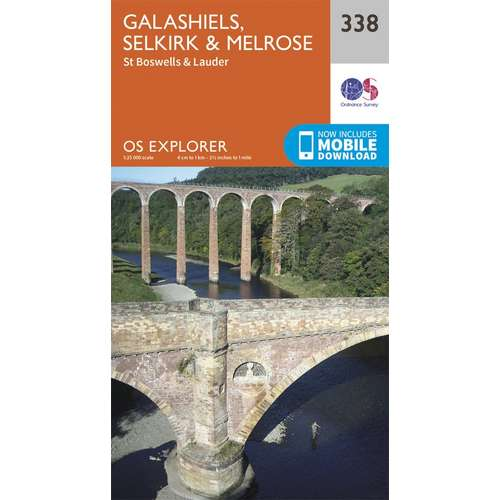 Explorer 338 1:25000 Galashiels, Selkirk & Melrose, Scottish Borders
