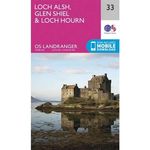 Landranger 33 1:50000 Loch Alsh, Glen Shiel & Loch Hourn