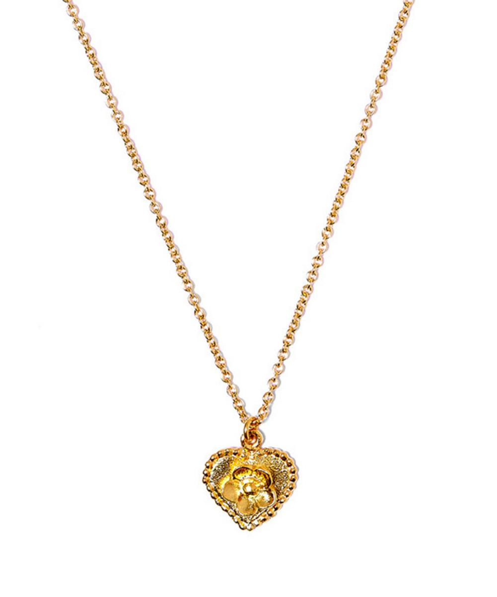 Gold-Plated Small Heart Wild Strawberry Cameo Necklace