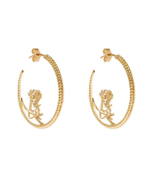 Gold-Plated Large Braided Cinquefoil Hoop Earrings